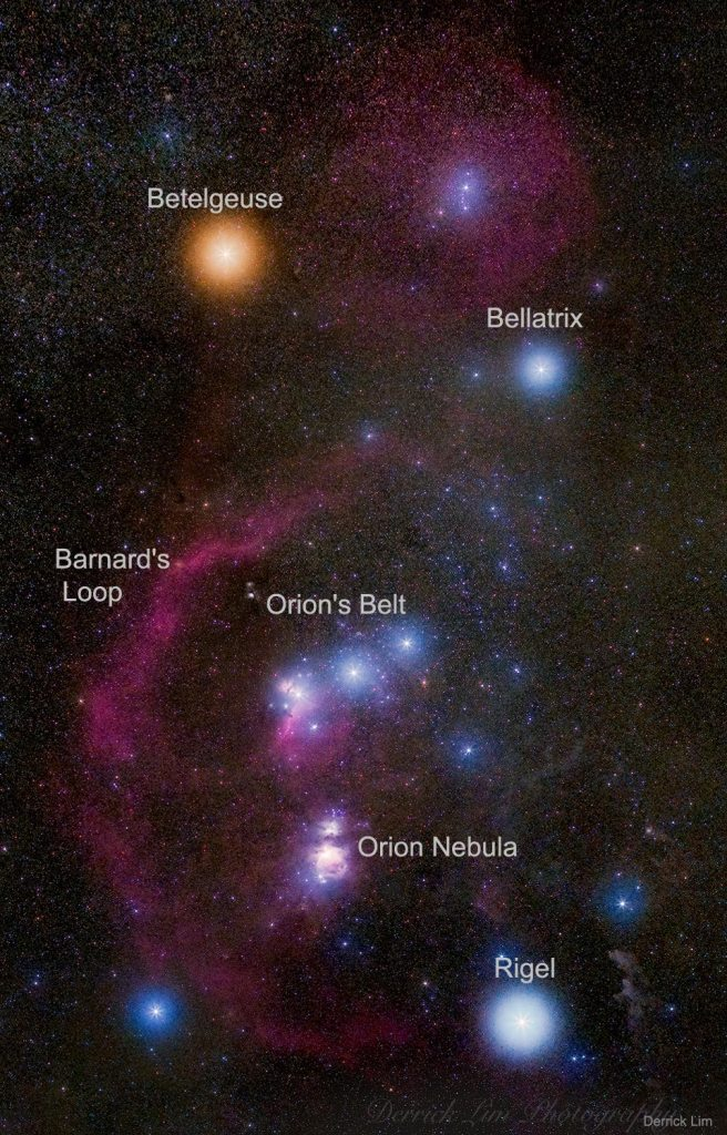 In this 20-image digitally-composed mosaic, cool red giant Betelgeuse takes on a strong orange tint as the brightest star at the upper left. Orion's hot blue stars are numerous, with supergiant Rigel balancing Betelgeuse at the lower right, and Bellatrix at the upper right. Lined up in Orion's belt are three stars all about 1,500 light-years away, born from the constellation's well-studied interstellar clouds.