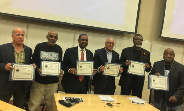 Black 14 members from left to right: Tony Gibson, Ivie Moore, Guillermo Hysaw, John Griffin, Tony McGee, and Mel Hamilton.