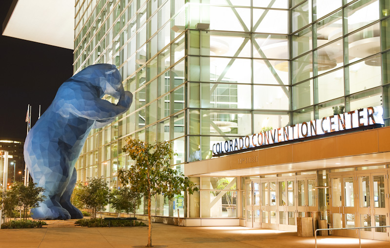 <p>The giant blue bear that peers in the windows is part of the public art collection at the ColoradoConvention Center in downtown Denver.</p>