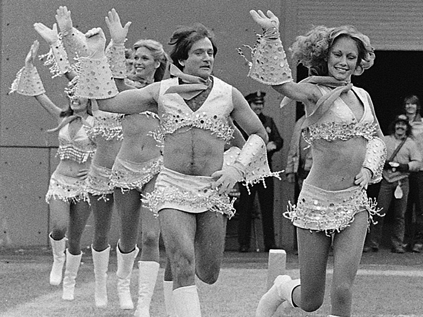 "<p>This Nov. 12, 1979 photo shows actor-comedian Robin Williams, third from right, dressed as a cheerleader with the Broncos' Pony Express cheerleaders during the filming of an episode of ""Mork & Mindy,"" in Denver. </p>"