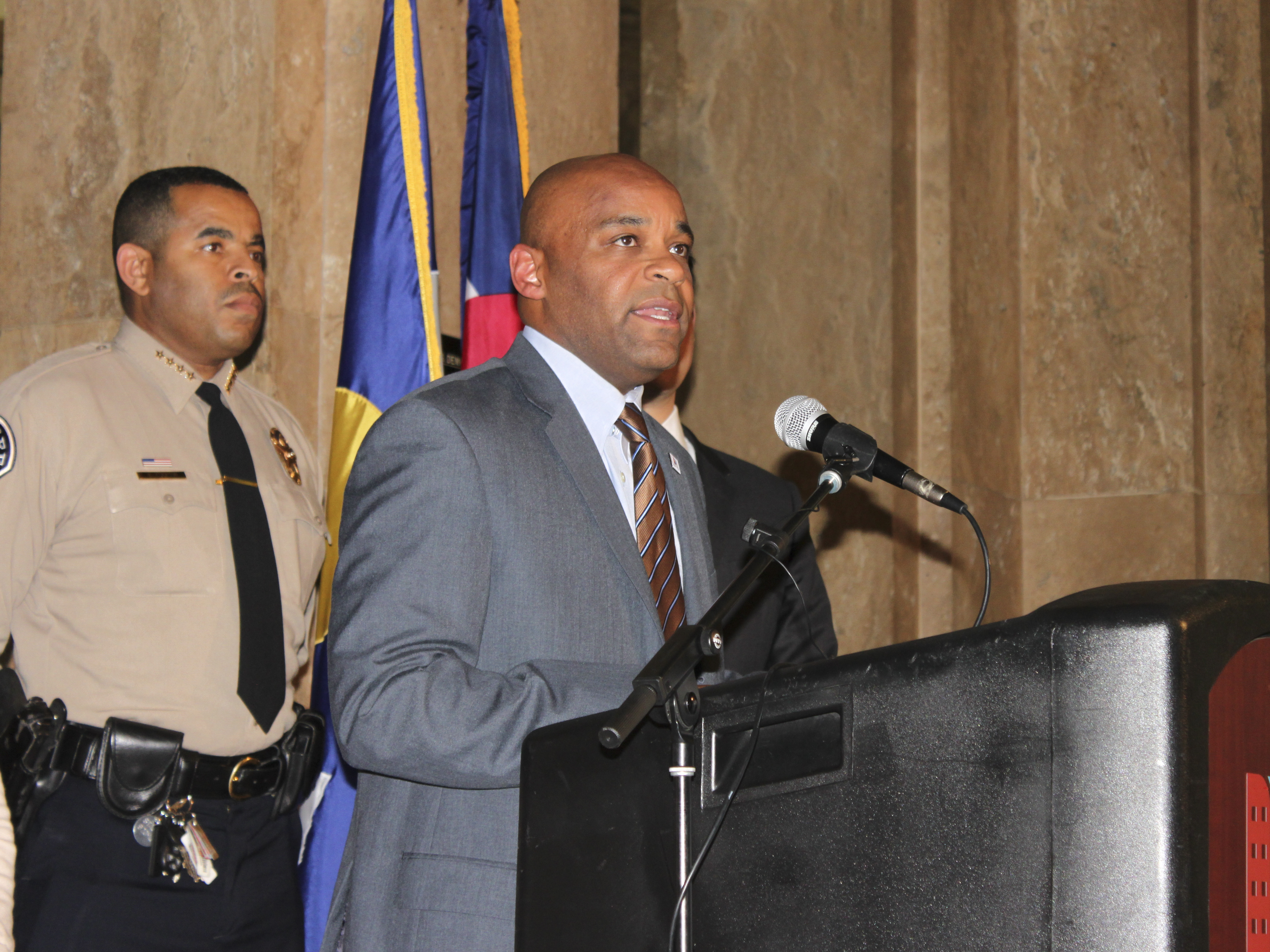 <p>Denver Mayor Michael Hancock announces the firms that will conduct an external review of the beleagured Denver Sheriff's Department on Thursday, Oct. 16, 2014.</p>