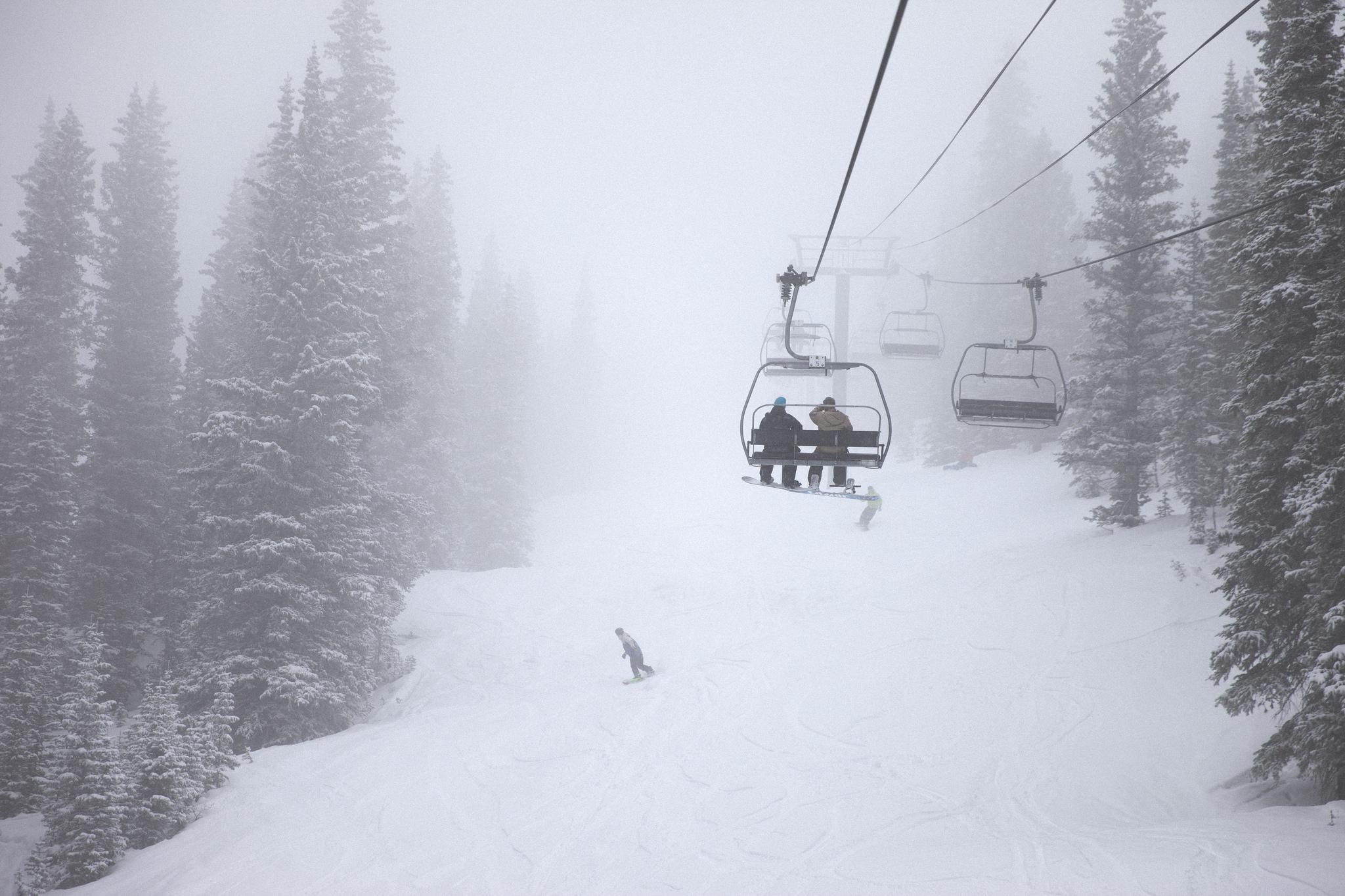 Riding through a blizzard at Aspen/Snowmass.