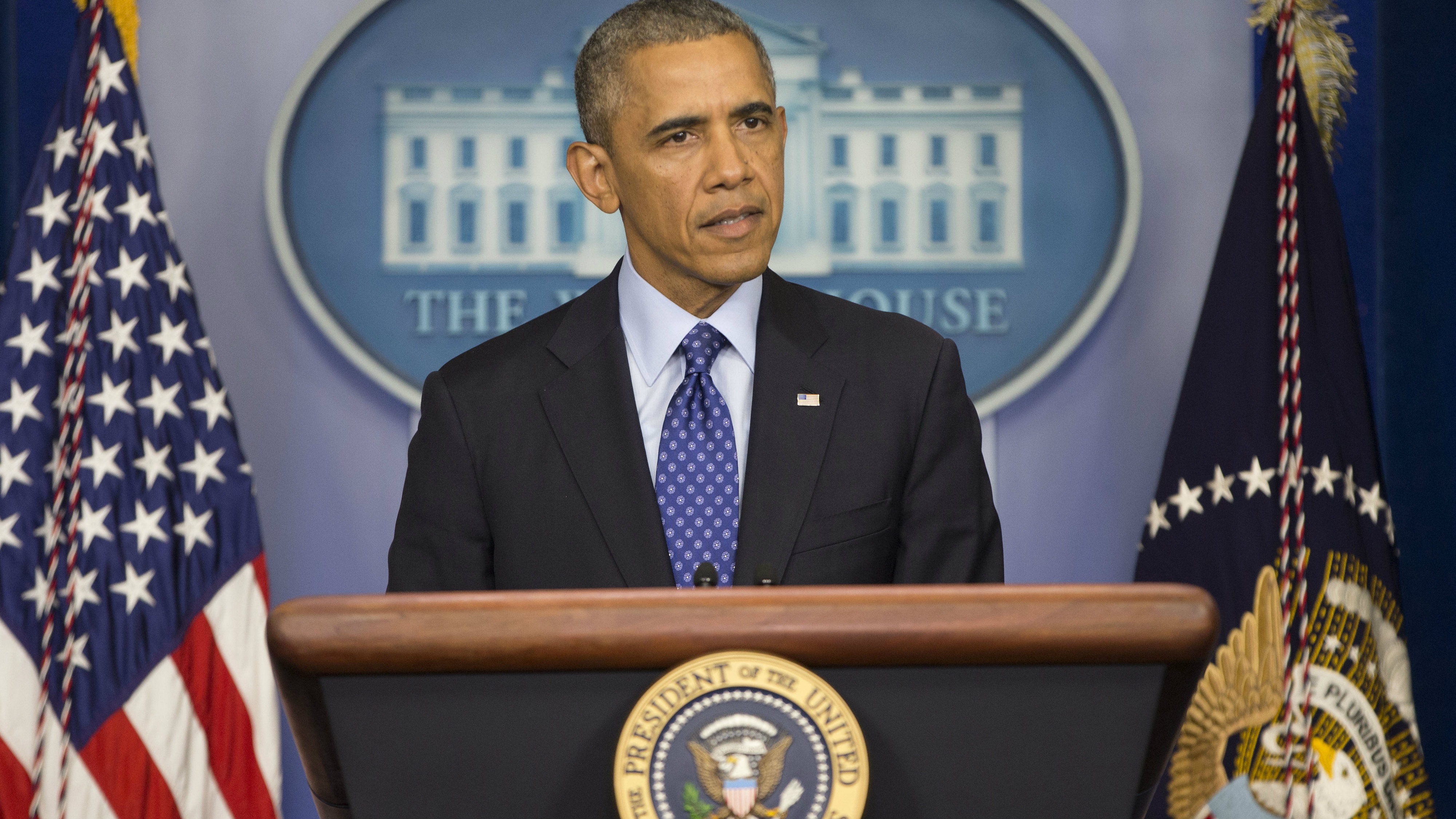 <p>President Barack Obama speaks to members of the media about the situation in Iraq on June 19, 2014. The Obama administration is weighing whether to press the Shiite prime minister in Baghdad to step down in a last-ditch effort to prevent disgruntled Sunnis from igniting a full-scale civil war.</p>