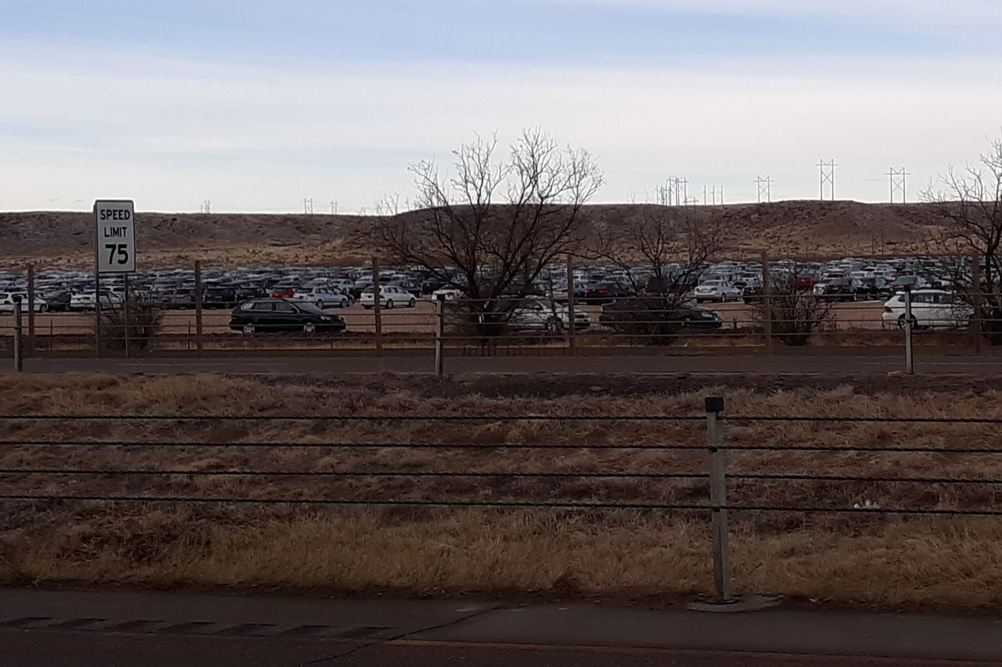 <p>The lot full of Volkswagen cars off I-25 between Pueblo and Colorado Springs.</p>