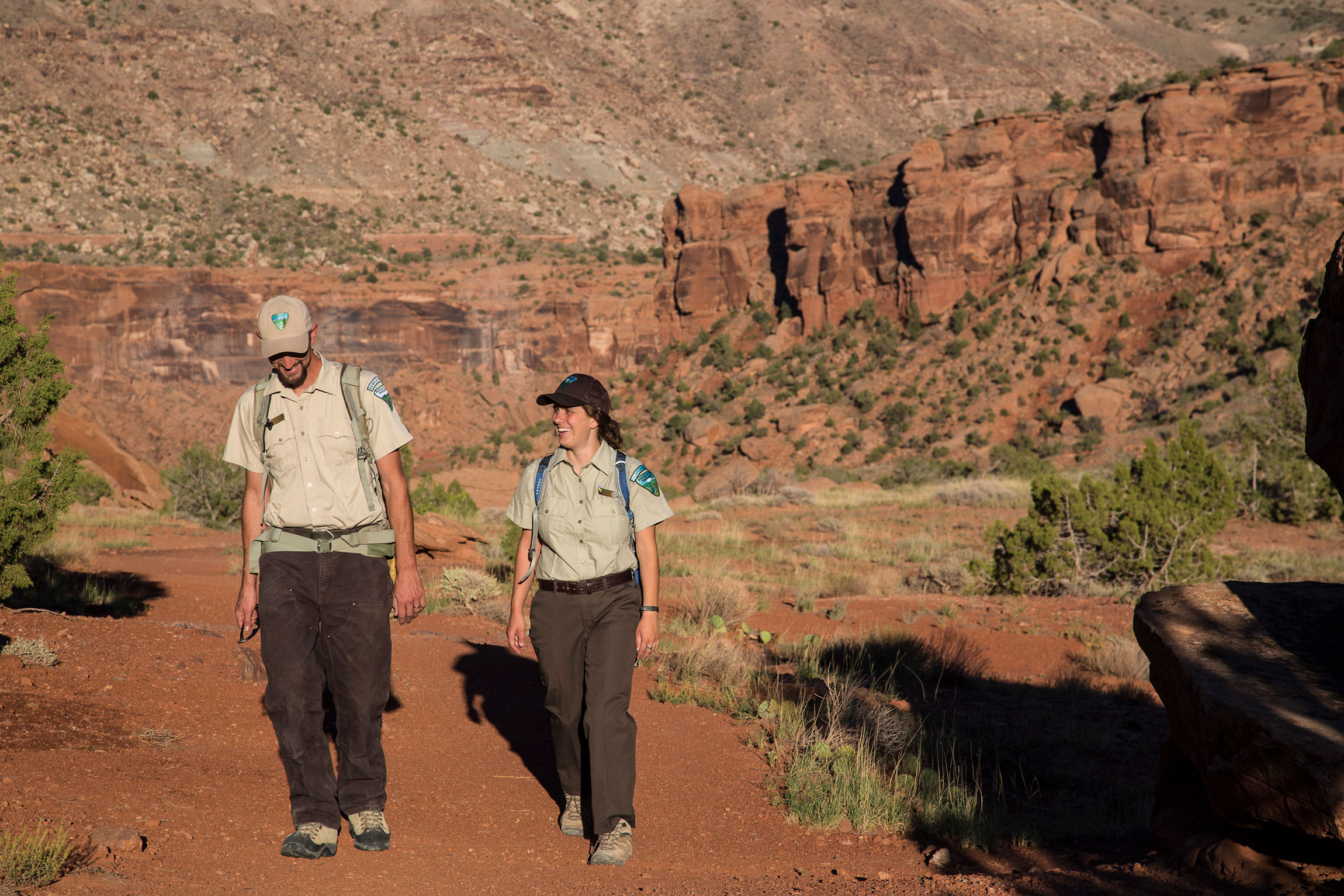 Two Bureau of Land Management rangers walk through the Dominguez-Escalante National Conservation Area, which is on Colorado's Western Slope, south of Grand Junction.
