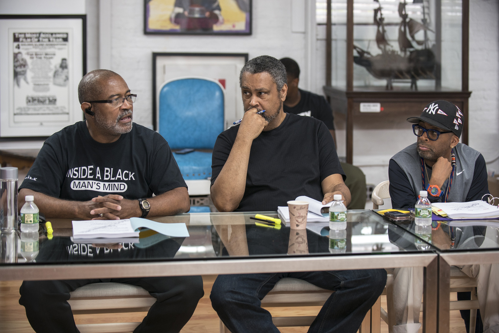 "<p>Ron Stallworth, writer Kevin Willmott and writer, director and producer Spike Lee on the set of ""BlacKkKlansman,"" a Focus Features release.</p>"