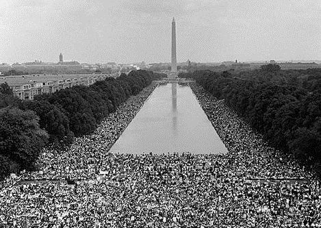 <p>A aerial photo of the 1963 March on Washington for Jobs and Freedom.</p>