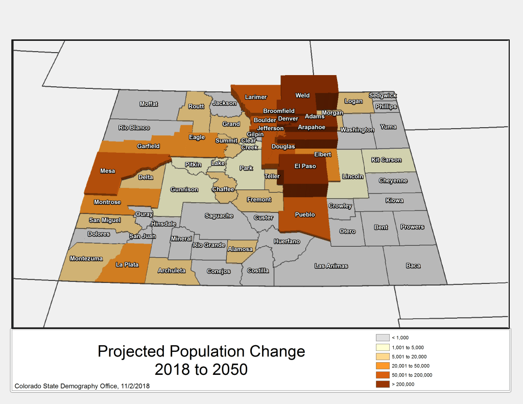 Population growth projections for Colorado, 2018