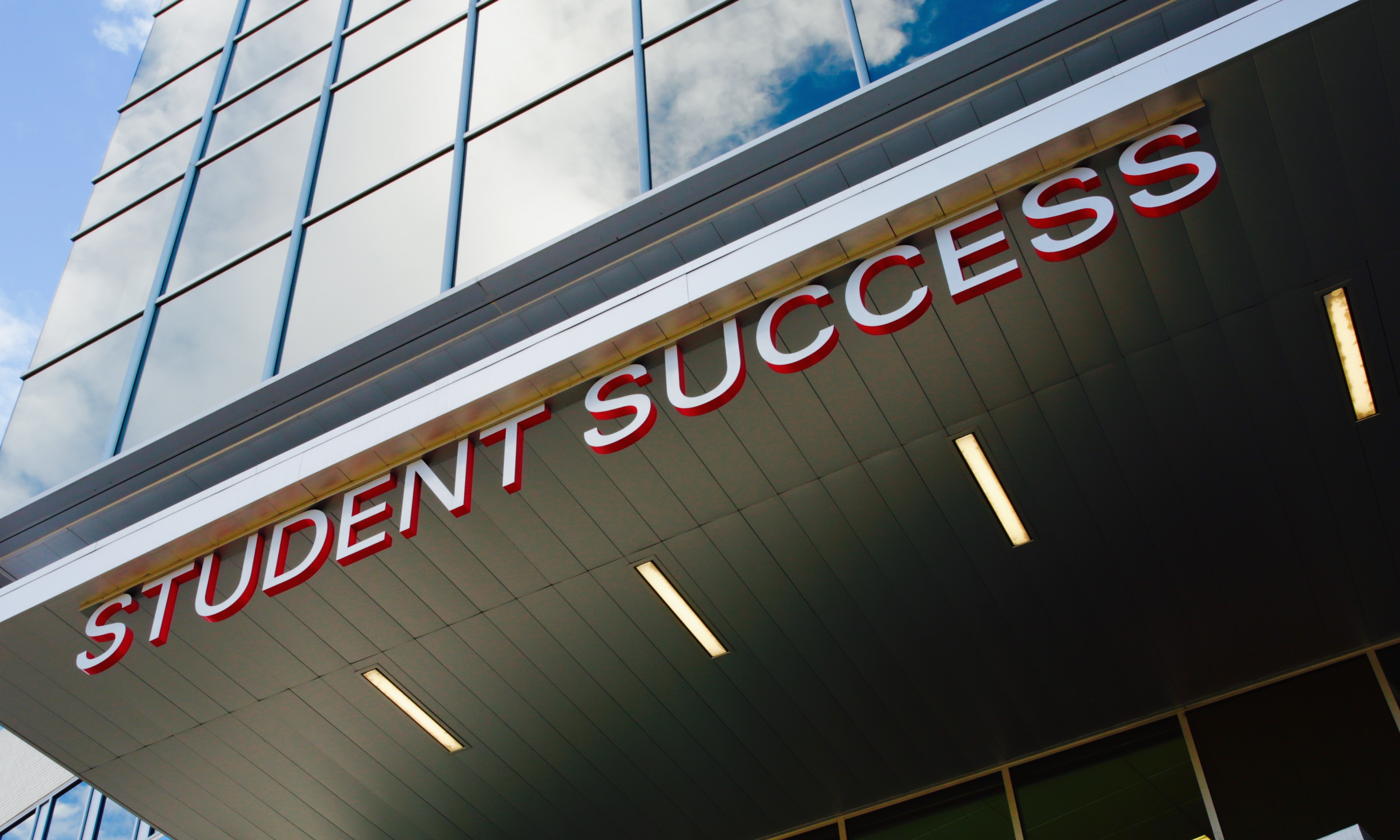 "A ""Student Success"" sign at Metropolitan State University in Denver."
