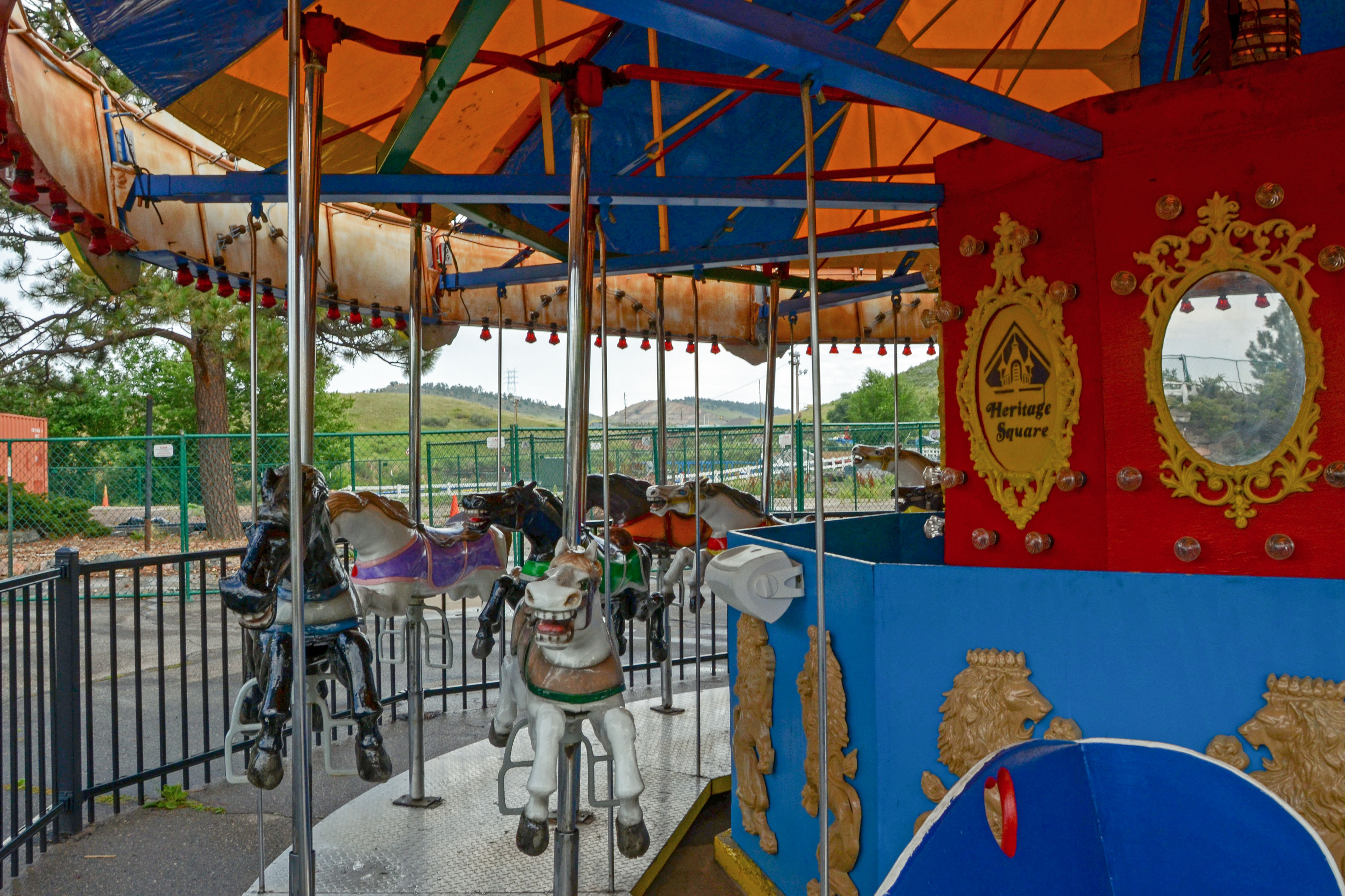 """<p>The carousel still bears the name """"Heritage Square"""" despite the fact that the park's landlord asked him to stop using the name.</p>"""