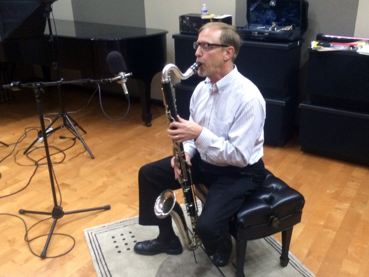 <p>Colorado Symphony clarinetist Andy Stevens with his bass clarinet.</p>