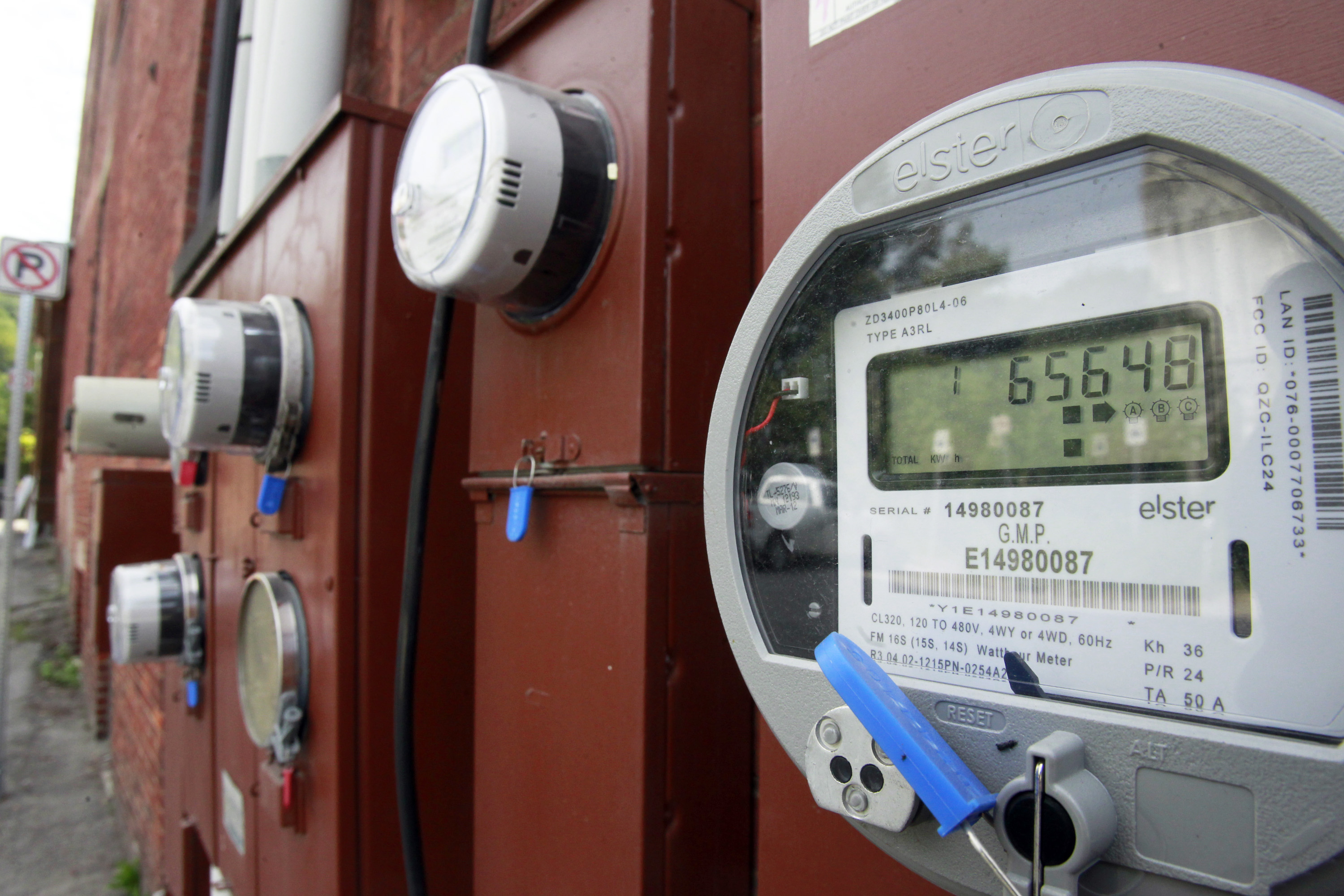 <p>Electric meters like this track how much energy consumers use.</p>
