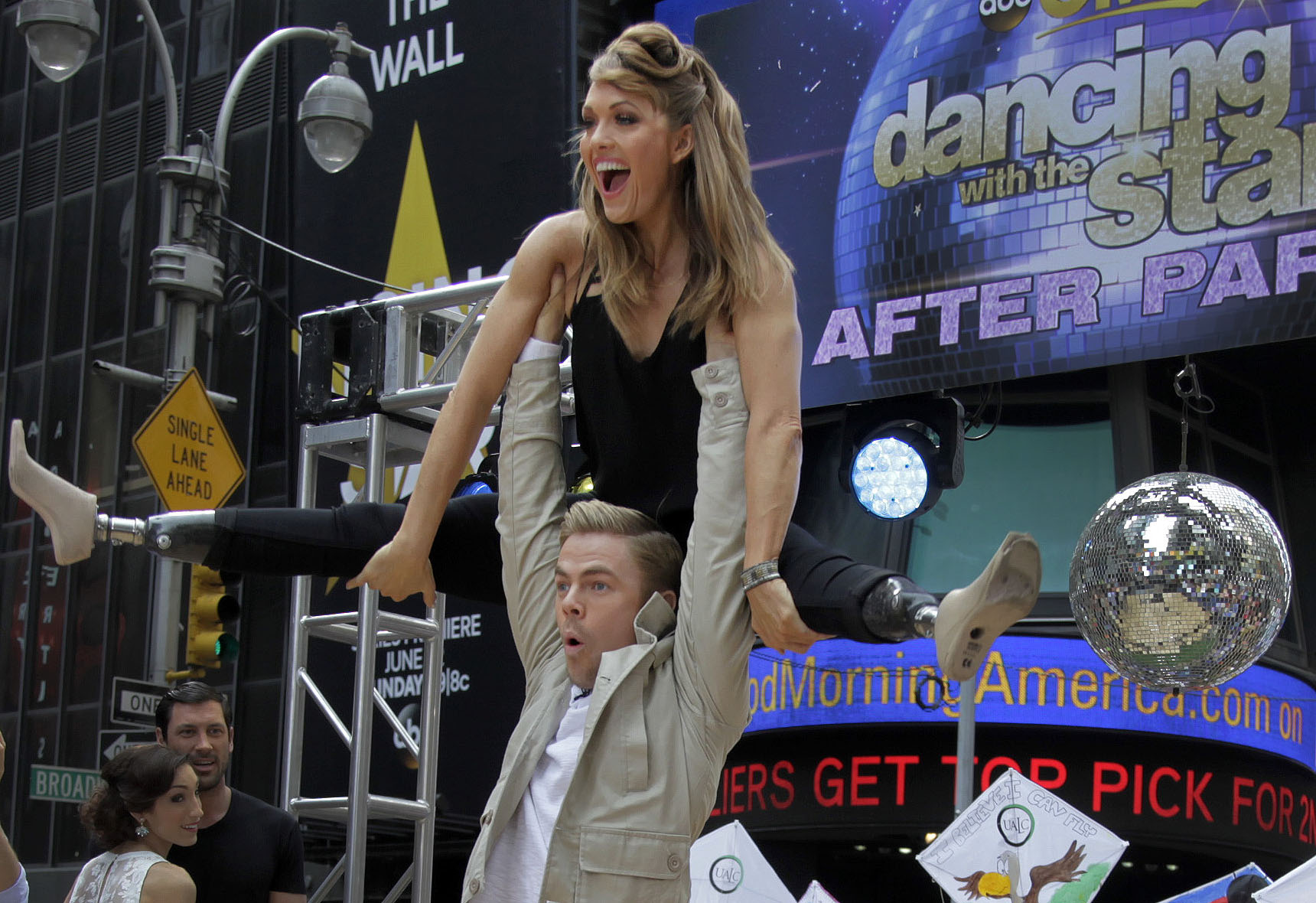 """<p>Actress Amy Purdy and dancer Derek Hough, """"Dancing with the Stars"""" finalists, appear on ABC's Good Morning America May 2014, in New York.</p>"""