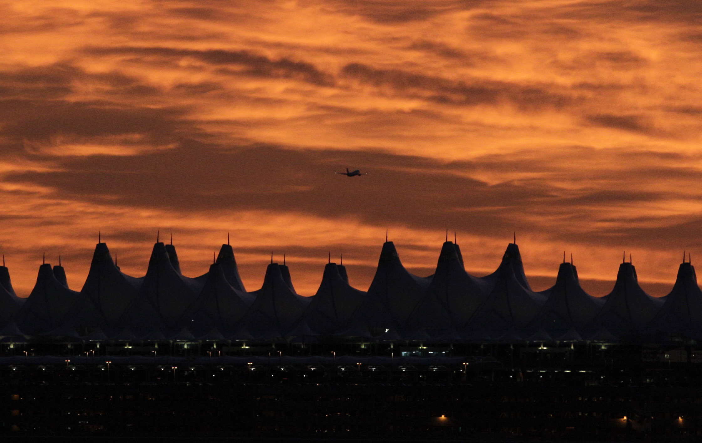 <p>Denver International Airport at sunset.</p>