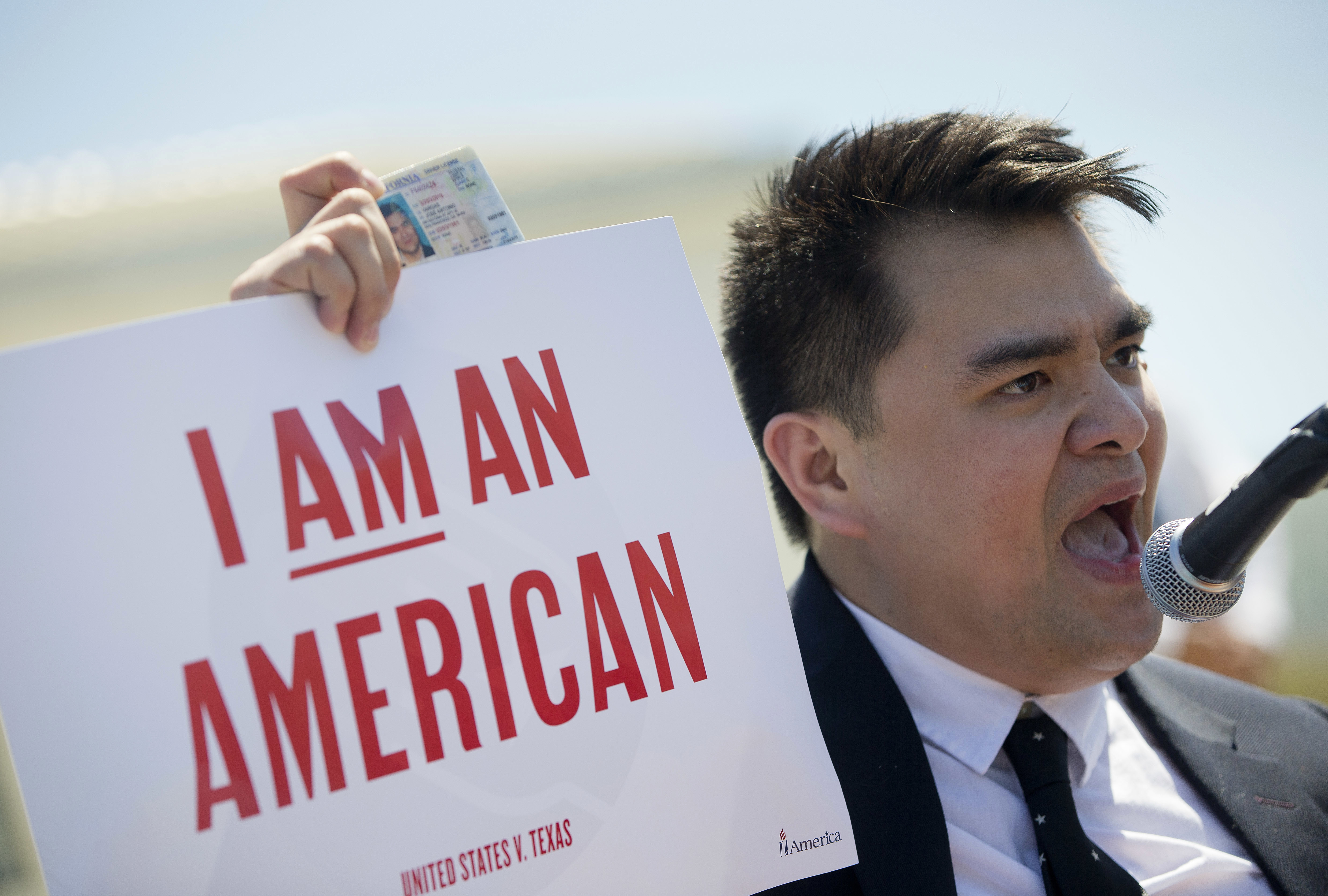 <p>Jose Antonio Vargas, a journalist, filmmaker, and immigration rights activist, from San Francisco, protests in front of the Supreme Court in Washington, Monday, April 18, 2016.</p>