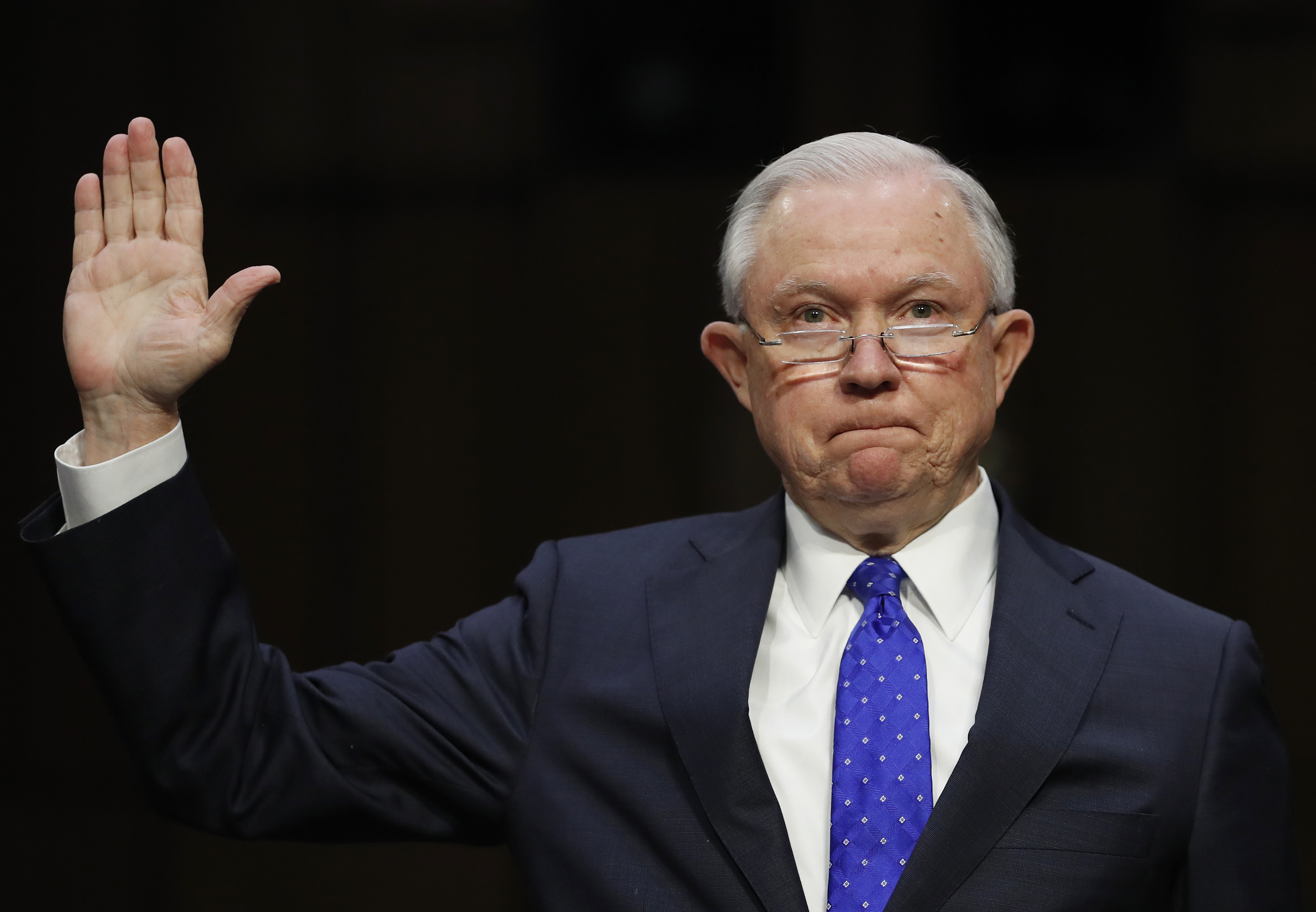 <p>Attorney General Jeff Sessions is sworn in to testify before aSenate committee.</p>
