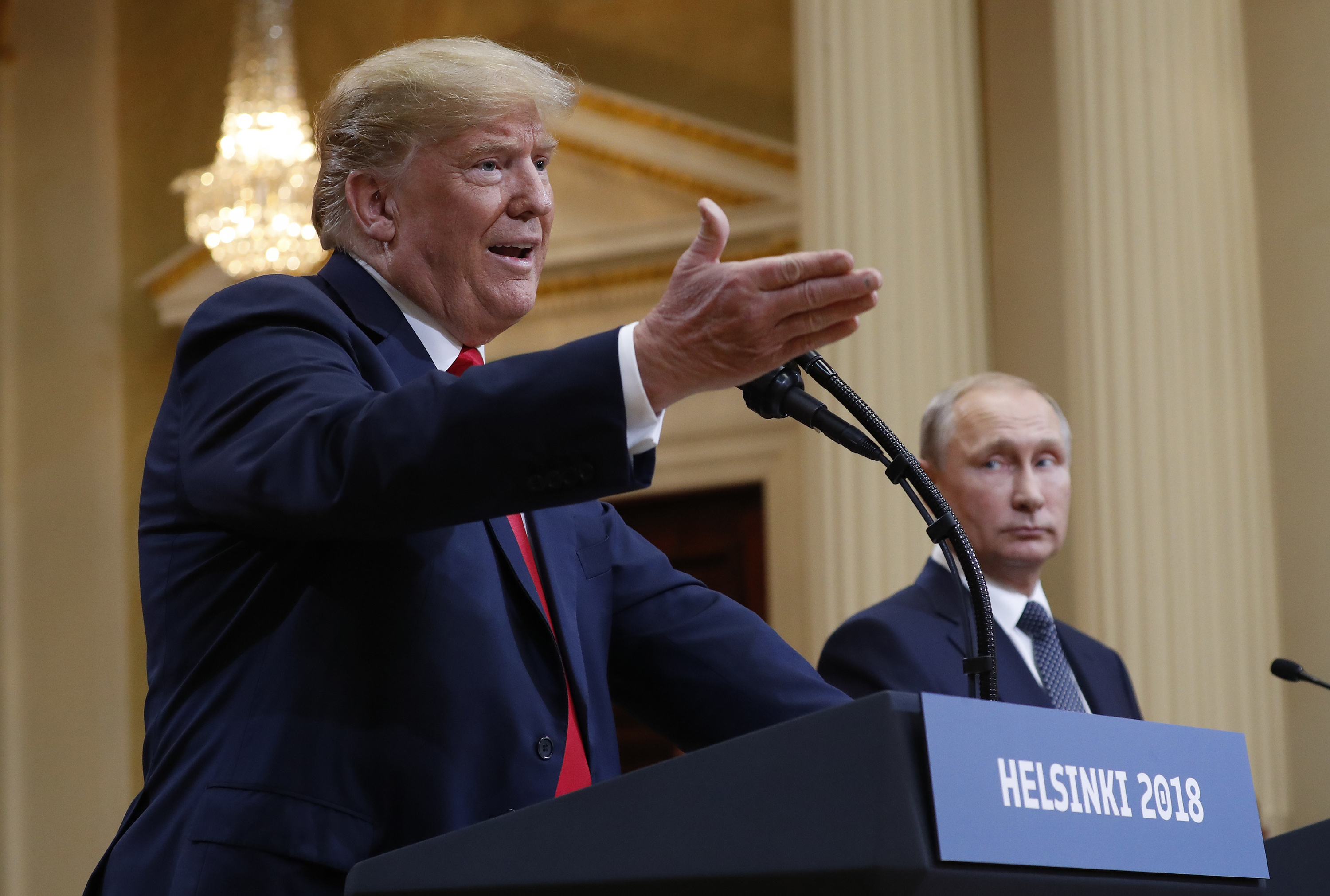 <p>U.S. President Donald Trump, left, and Russian President Vladimir Putin at a joint press conference in Helsinki, Finland, on Monday July 16, 2018.</p>