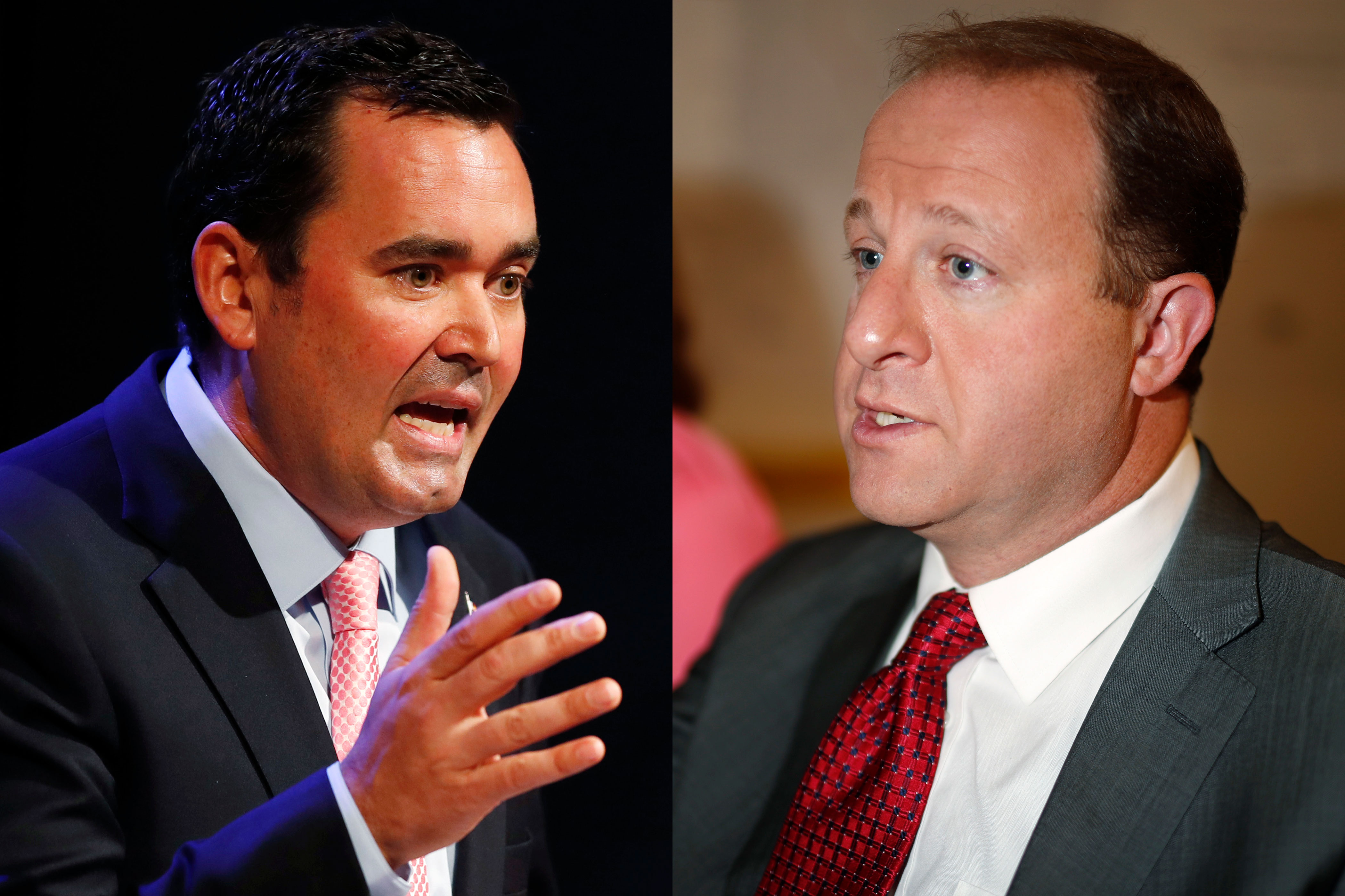 <p>Walker Stapleton, left, responds to a question during June 2018 debate in Denver, Colo.;Jared Polis, right,speaks during an interview as his choice for lieutenant governor running mate, July 2, 2018.</p>