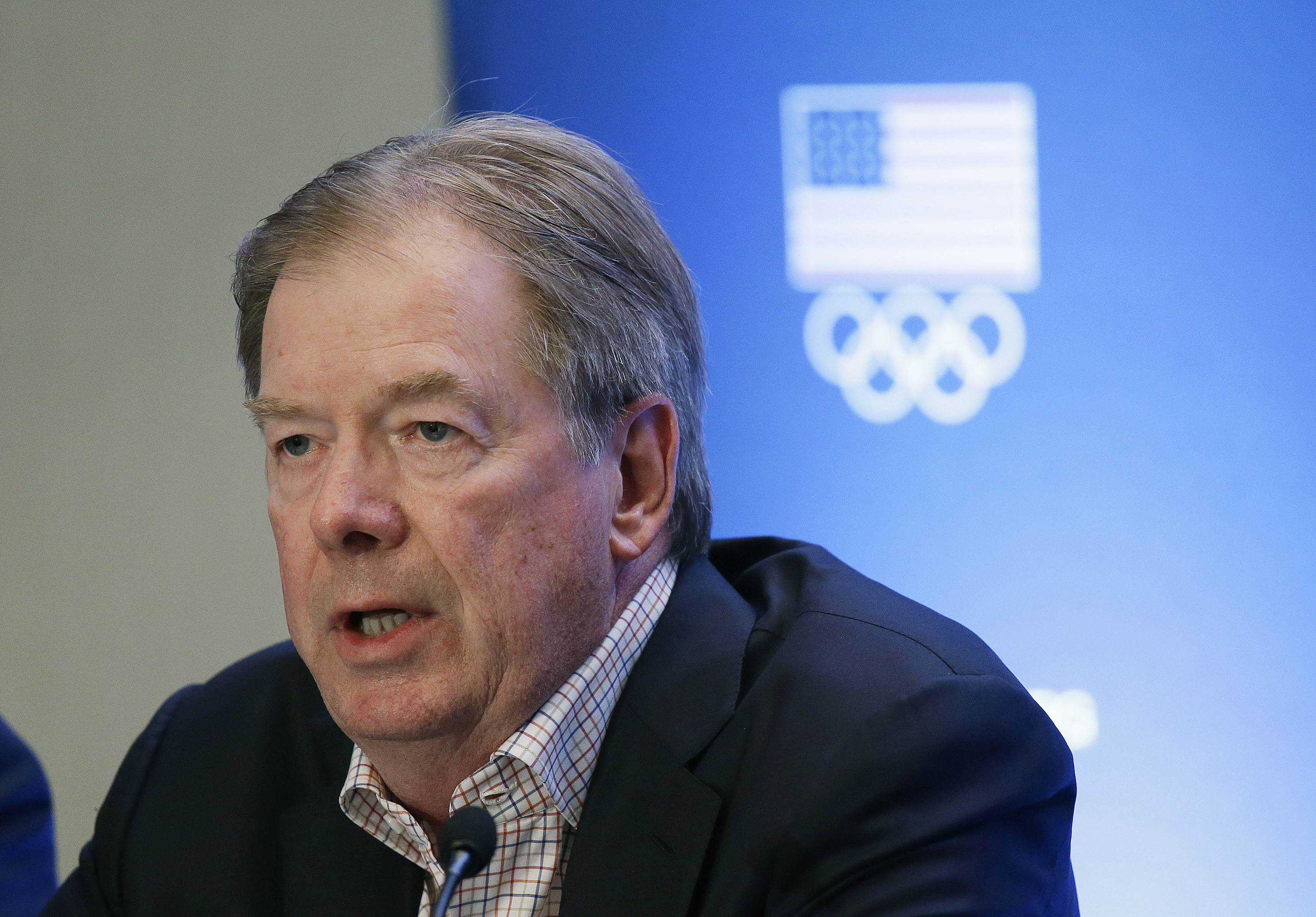 "<p>U.S. Olympic Committee Chairman Larry Probst speaks during a news conference in Redwood City, Calif. on <span style=""color: rgb(64, 69, 64);"">June 30, 2015</span>. Larry Probst will step down as chairman of the U.S. Olympic Committee at the end of 2018.</p>"