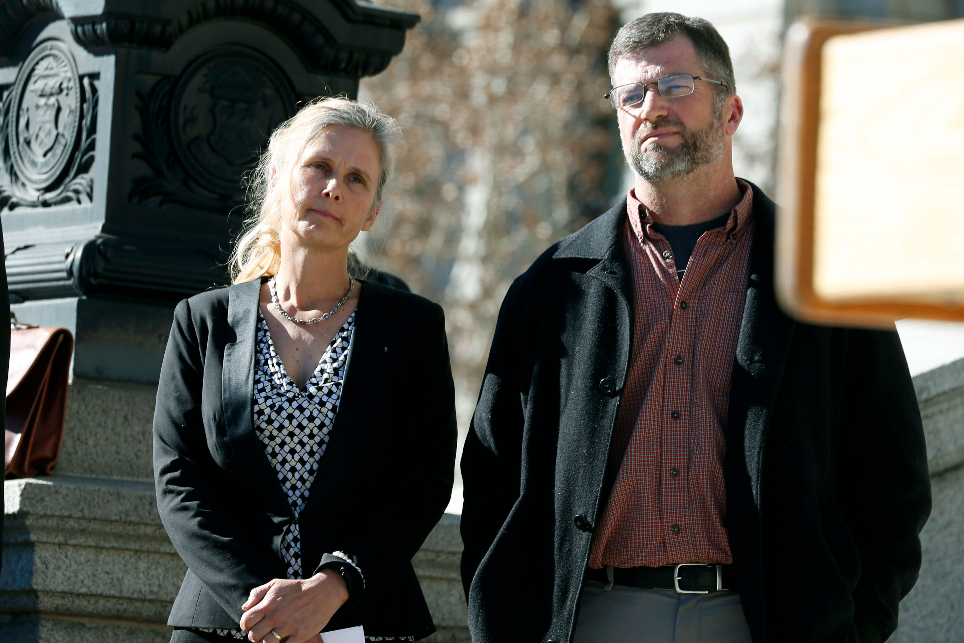 <p>Hope, left, and Mike Reilly of Pueblo, Colo., attend a news conference in reaction to the announcement that a federal lawsuit is being filed on behalf of the couple by a Washington D.C.-based group to shut down the state's $800-million-a-year marijuana industry, in Denver.</p>