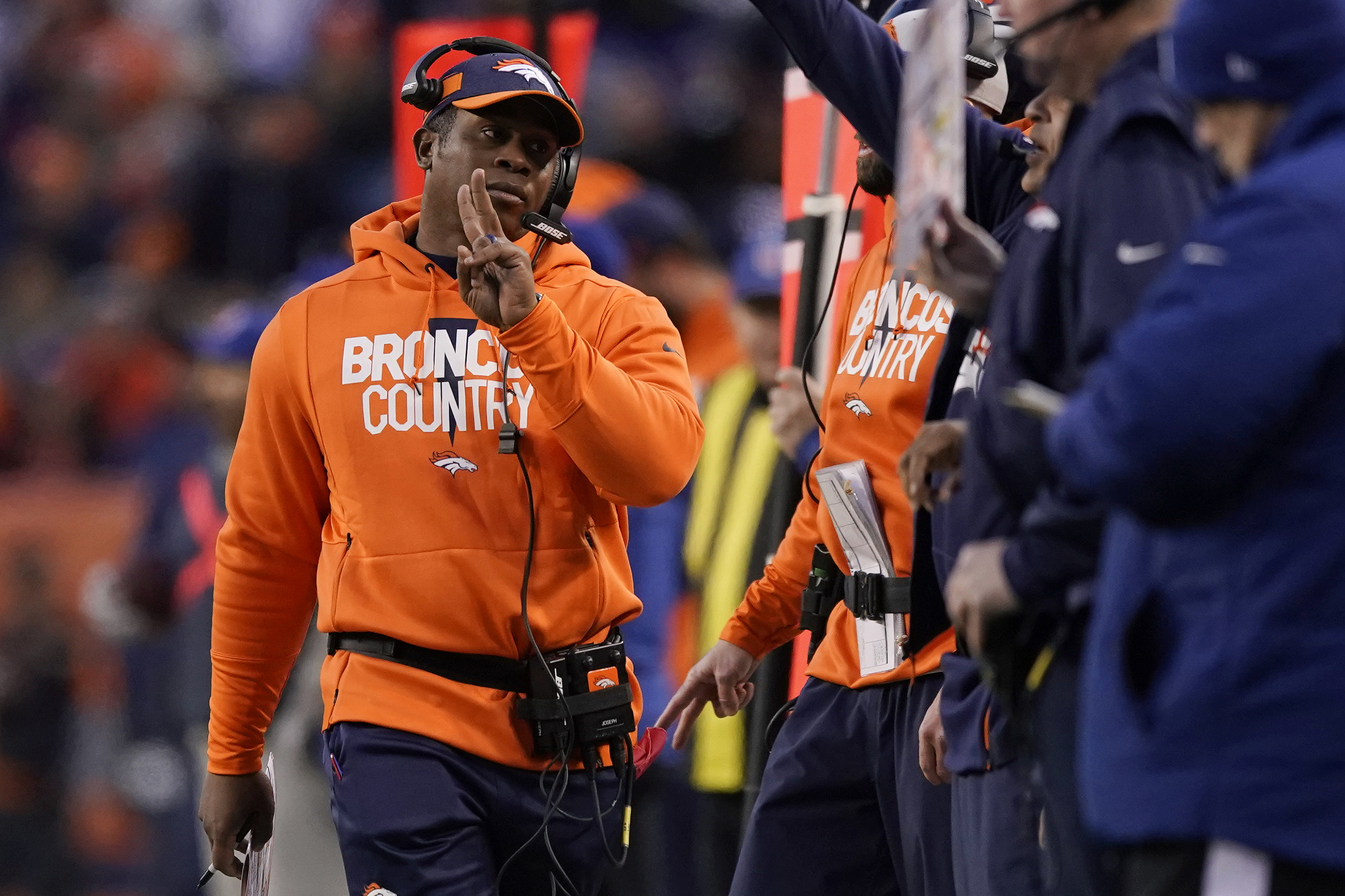 <p>Denver Broncos head coach Vance Joseph on the sideline during Sunday'sgame against the Los Angeles Chargers, Sunday, Dec. 30, 2018, in Denver.</p>