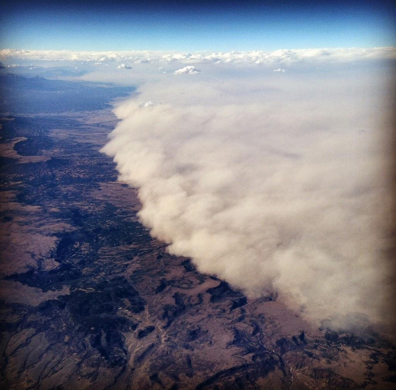 <p>A dust storm in Colorado as seen from a plane.</p>