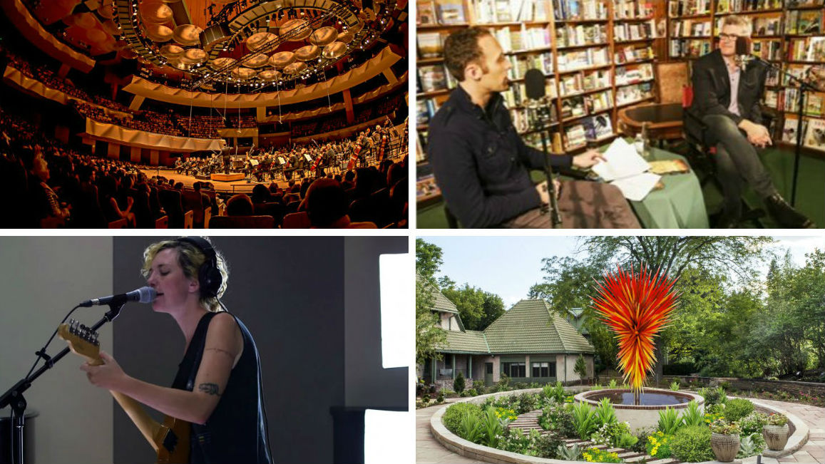 <p>Boettcher Concert Hall in Denver; Colorado Matters at The Tattered highlight; Esme Patterson in the CPR Performance Studio; new Chihuly sculptureat the Denver Botanic Gardens</p>