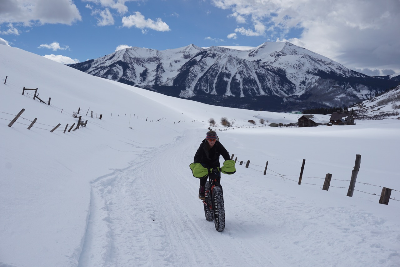 <p>A fat biker rolls over a backcountry trail near Crested Butte.</p>