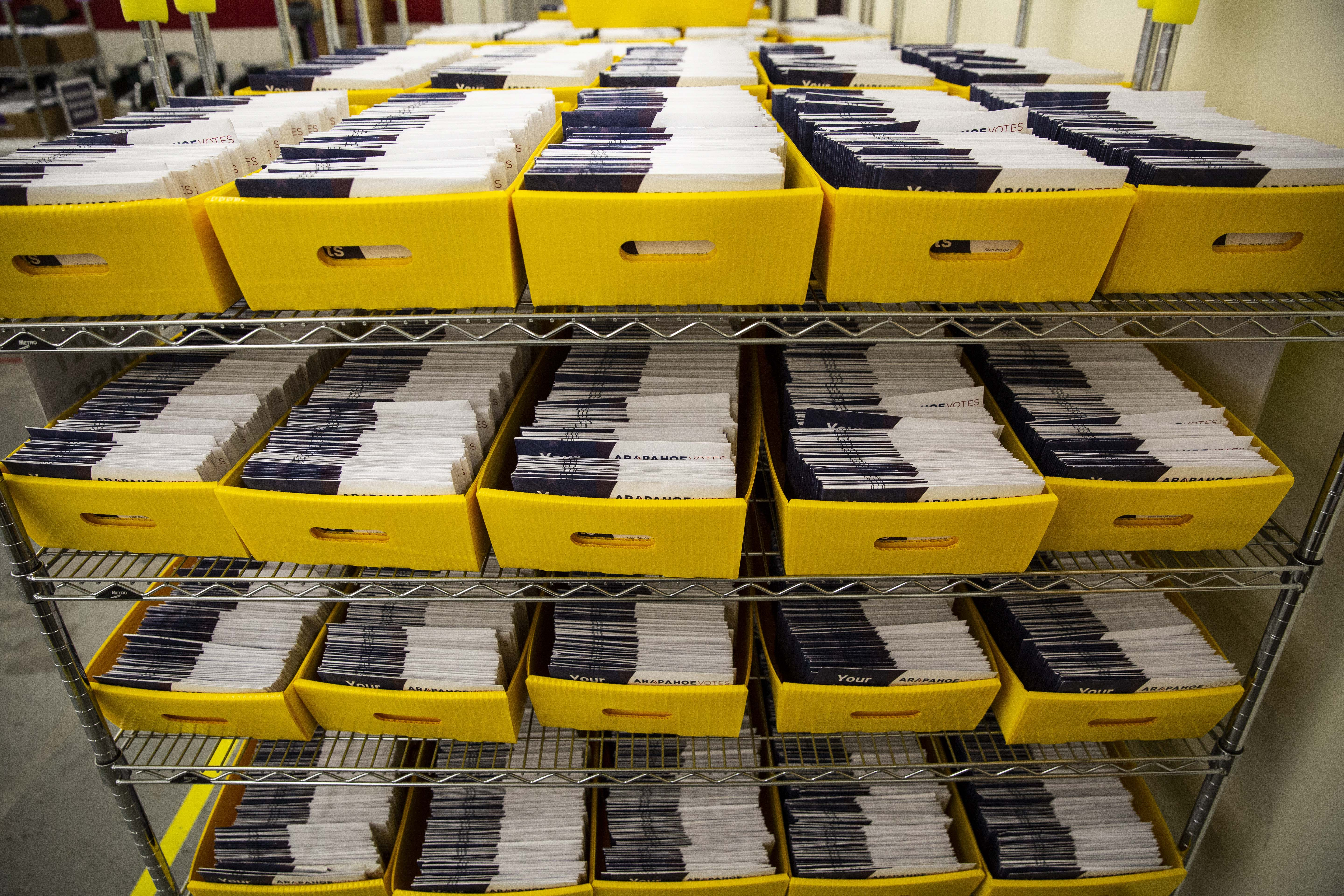 <p>Boxes of ballots atthe Arapahoe County Elections Facility in Littleton, Colorado, Tuesday, Oct. 30, 2018.</p>