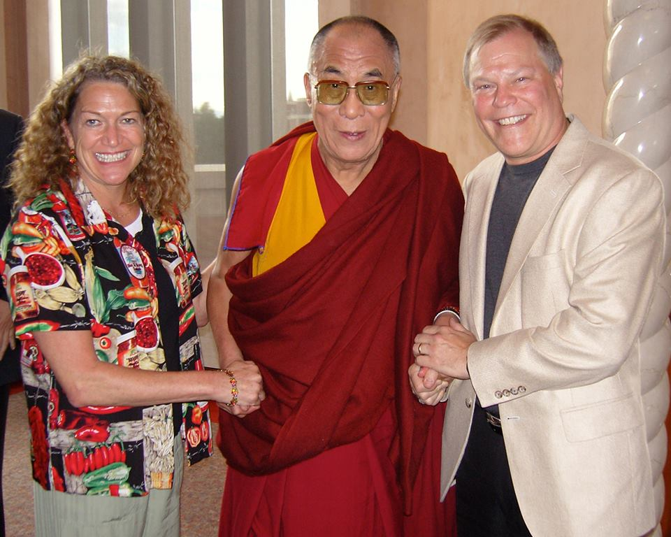 <p>Gay and Barry Curtiss-Lusherflank the Dalai Lama while representing the Anti-Defamation League.</p>