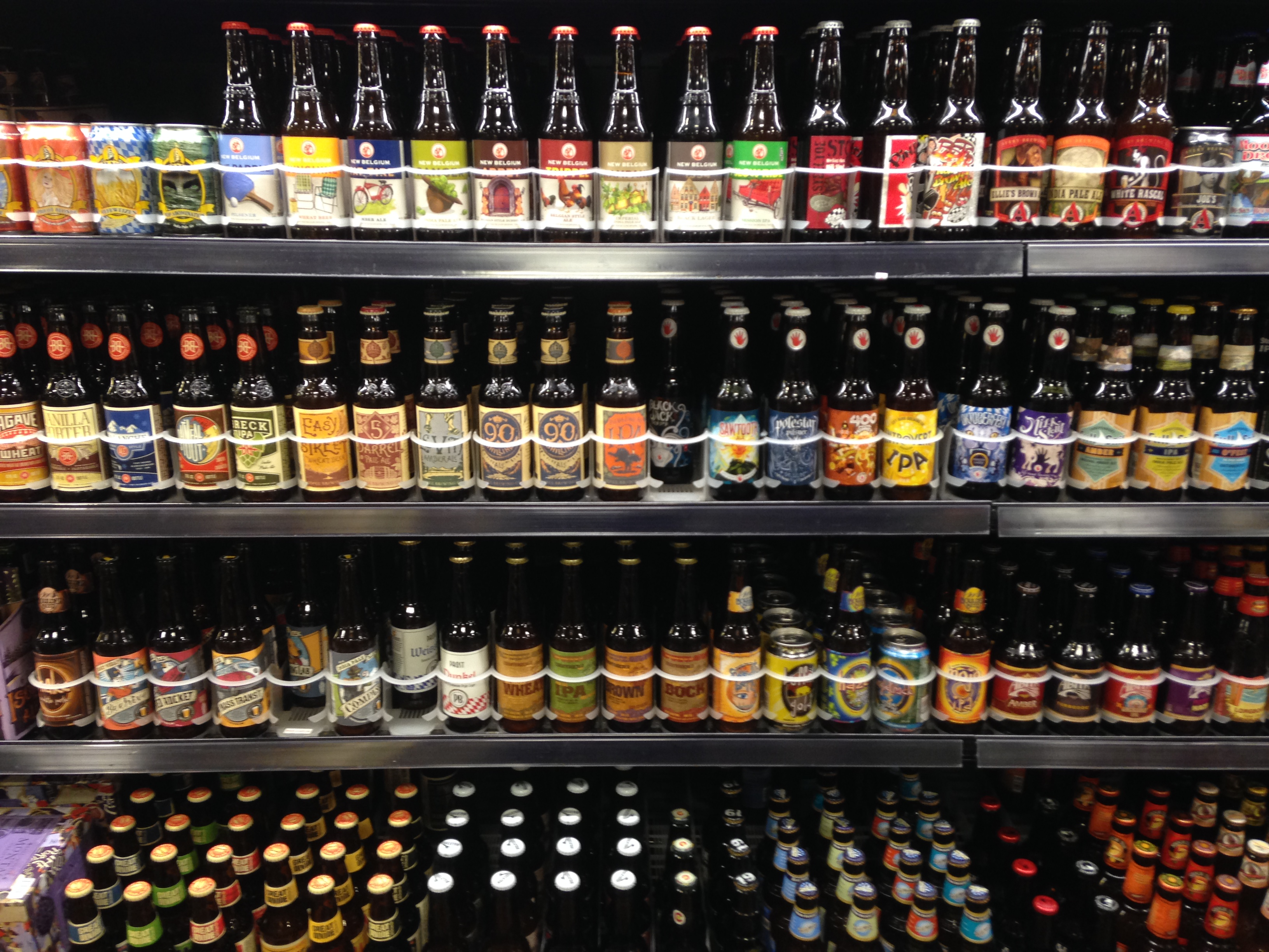 <p>A beer case at a King Soopers store in Glendale, Colorado.</p>
