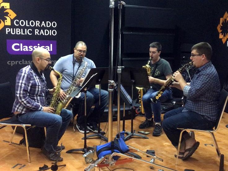 <p>The Black Diamond Saxophone Quartet records a session in the CPR Performance Studio.</p>