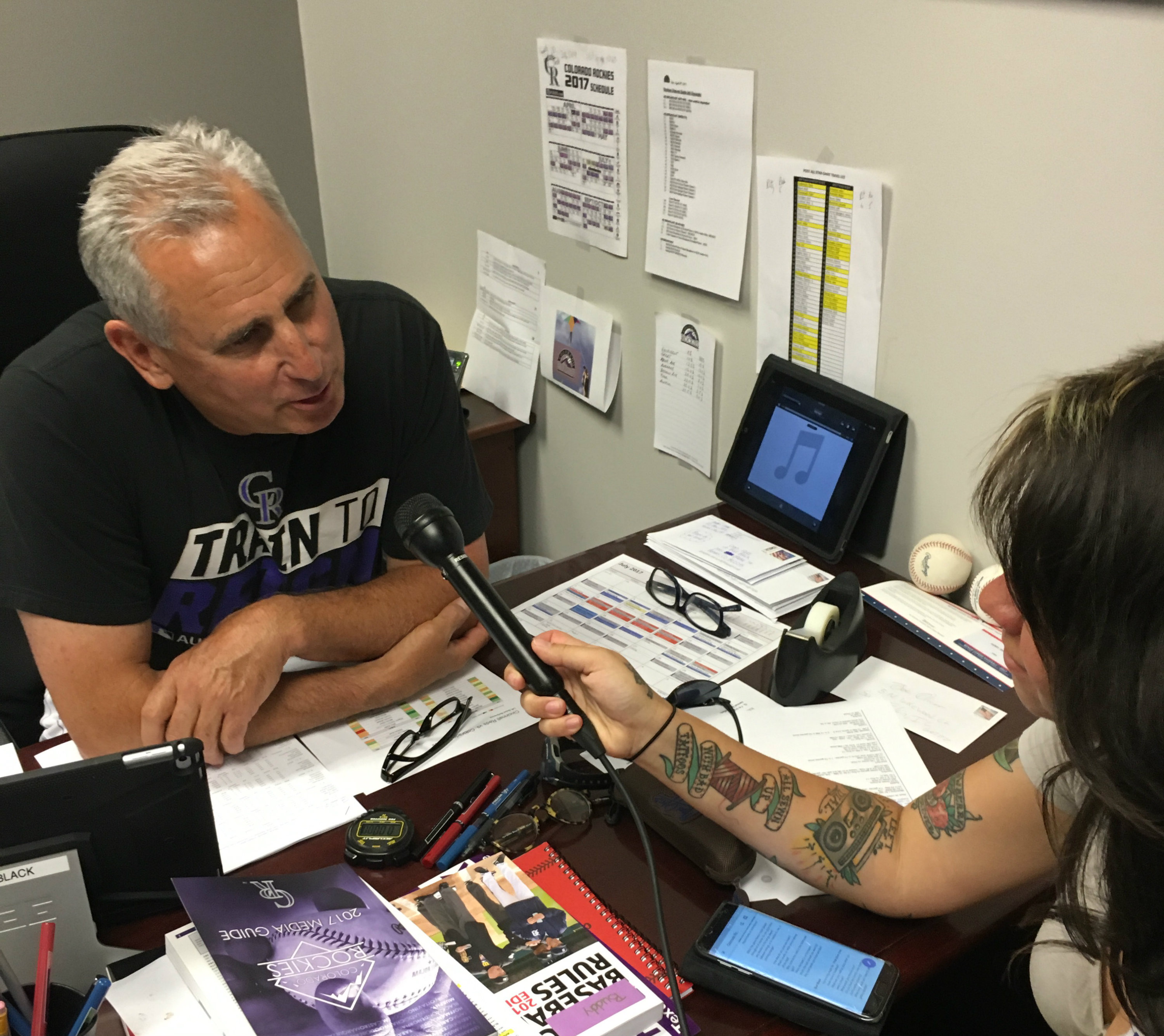 <p>Colorado Rockies manager Bud Black chats with Bruce Mitchell.</p>