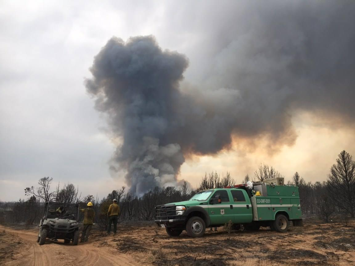 <p>A lookout of the fireline in the Bull Draw Fire on Thursday, Aug. 16, 2018. </p>