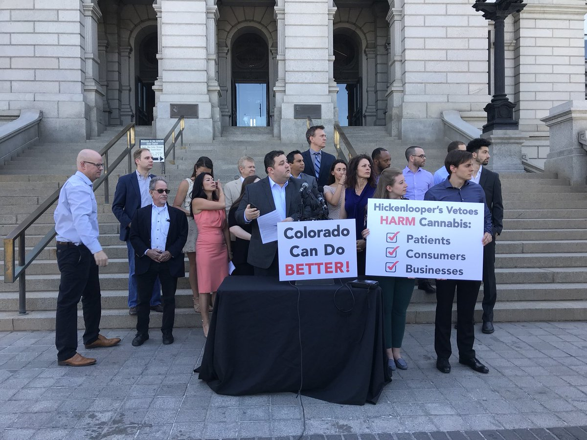 <p>Mason Tvert and other marijuana advocates speak at a press conference at the state Capitol in Denver on Thursday, June 7, 2018.</p>