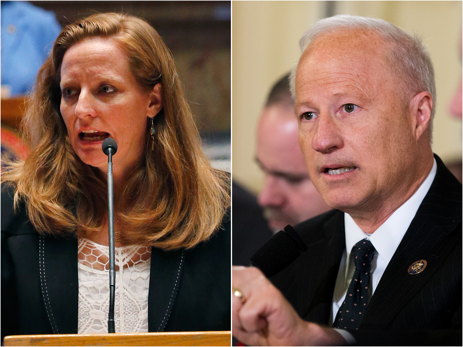 <p>State Sen. Morgan Carroll, D-Aurora, left, is challenging Republican U.S. Rep. Mike Coffmann in Colorado's 6th Congressional District.</p>