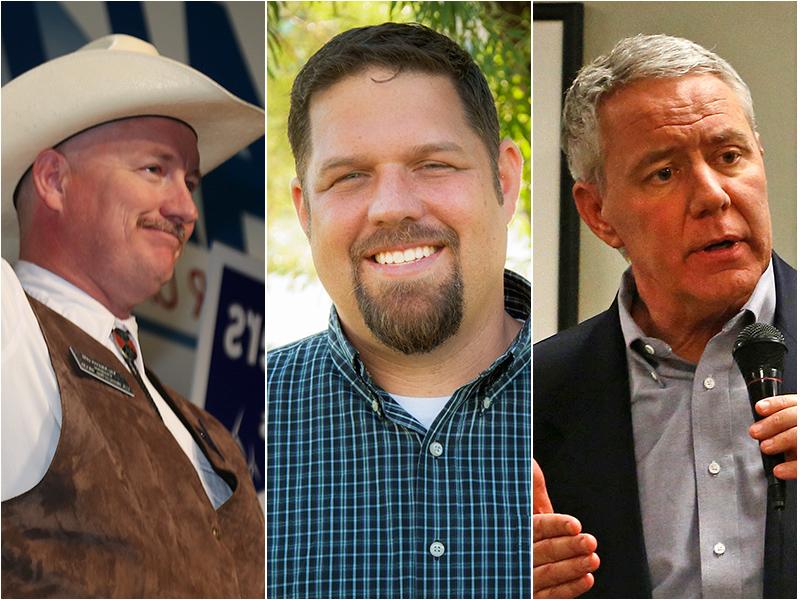<p>From left: Democrat Bob Seay, Republican Ken Buck and Libertarian Bruce Griffith.</p>