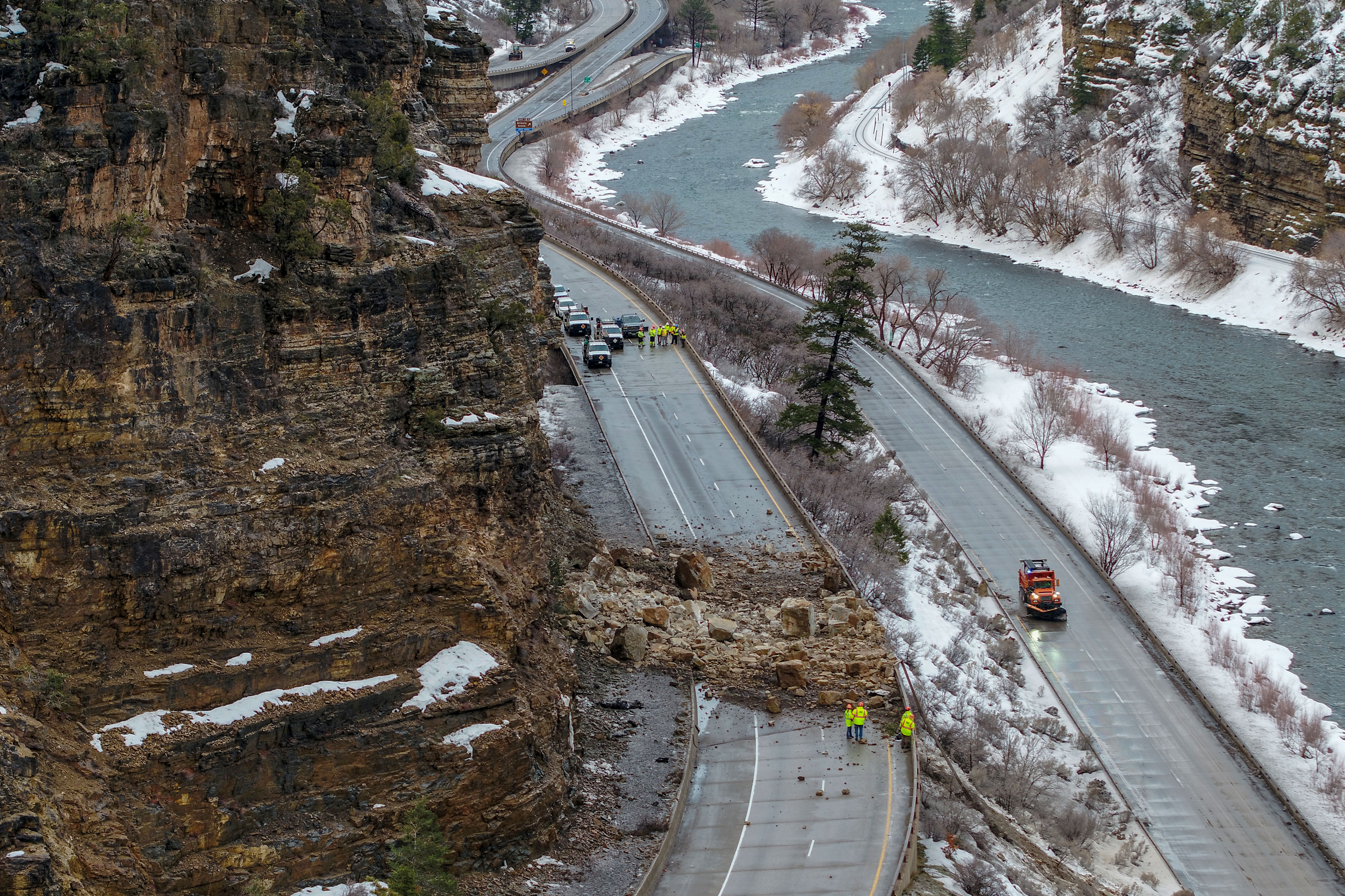 <p>A higher up view of the rock slide that closed I-70 in Glenwood Canyon for a substantial part of Tuesday, Feb. 5, 2019.</p>