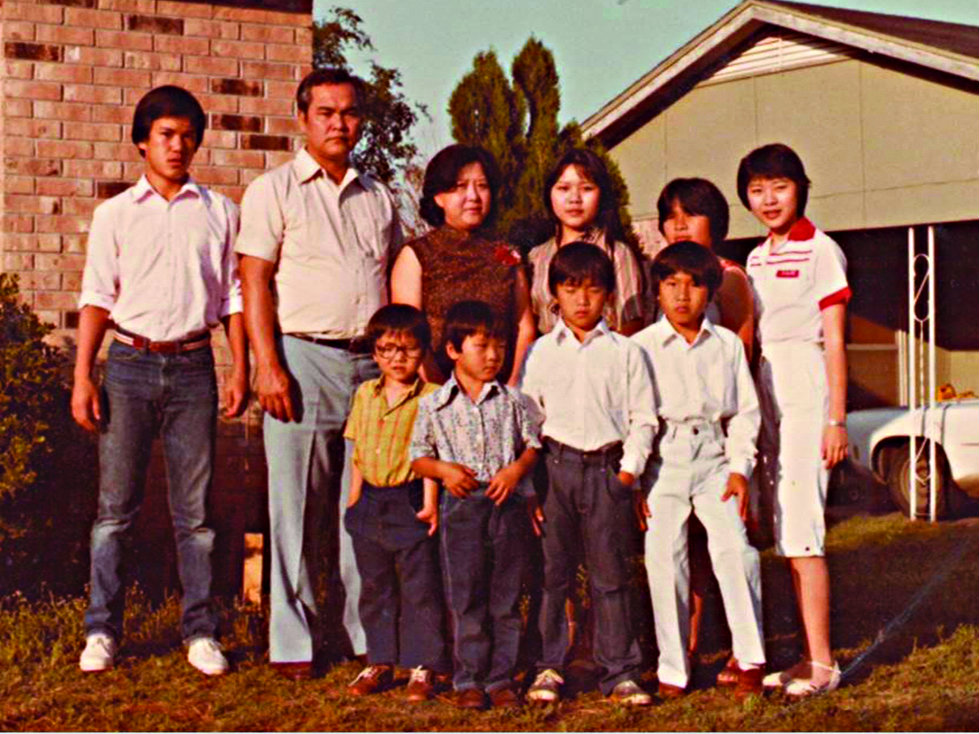 <p>The Chung family living in Arkansas. A Lutheran church in the small town of Fort Smith sponsored the large family after the Chungs had survived in a Singapore refugee camp for a year.</p>