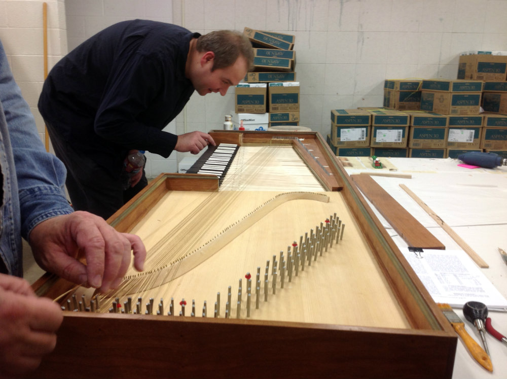 <p>A scene from the construction of a clavichord at CSU-Pueblo.<br /> </p>