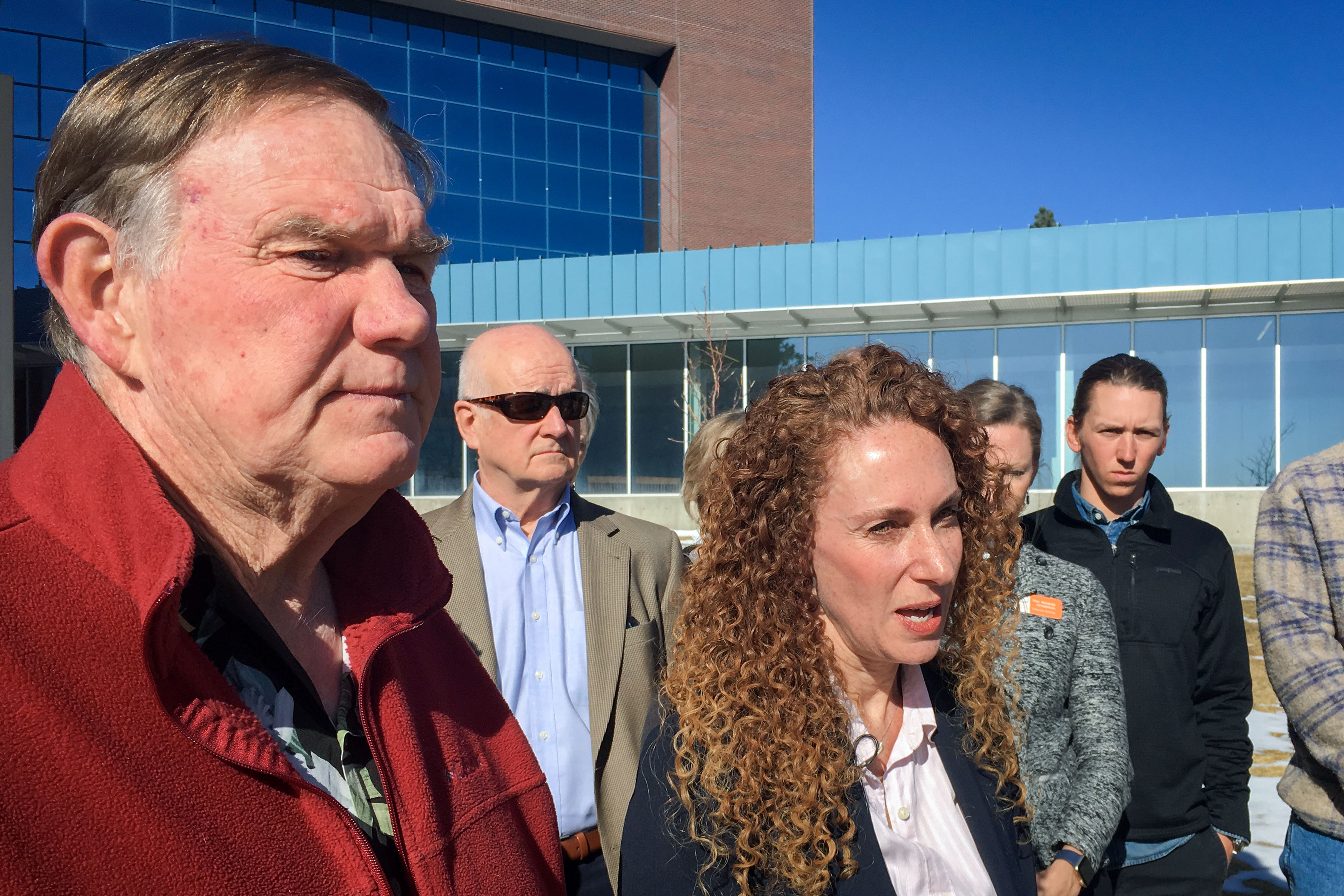 <p>Greta Lindecrantz's husband, Dave Sidwell, stands outside the Arapahoe County Courthouse Tuesday morning with Lindecrantz's attorney Mari Newman and members of the Mennonite church.</p>
