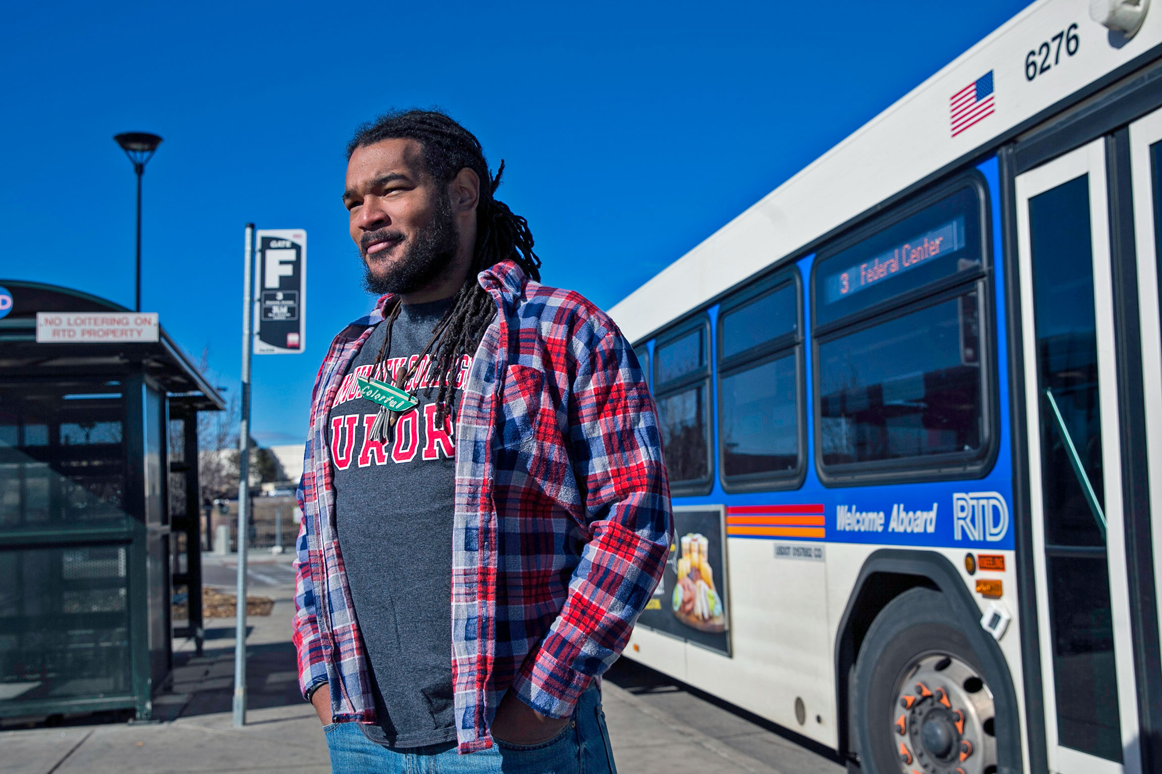 <p>Former Aurora poet laureate Jovan Mays stands at the Aurora Metro Center Bus Station, Jan. 27, 2017.</p>