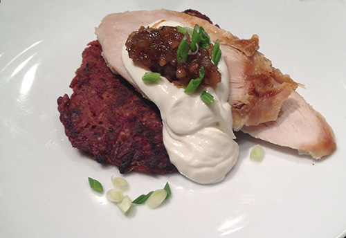 "<p>Chef Daniel Asher shares his multi-layered holiday recipe for latkes.  <a href=""http://www.cpr.org/news/story/recipe-colorado-red-beet-butternut-squash-and-cranberry-thankhanukkah-latkes"" target=""_blank"" rel=""noopener noreferrer"">Full Story</a></p>"