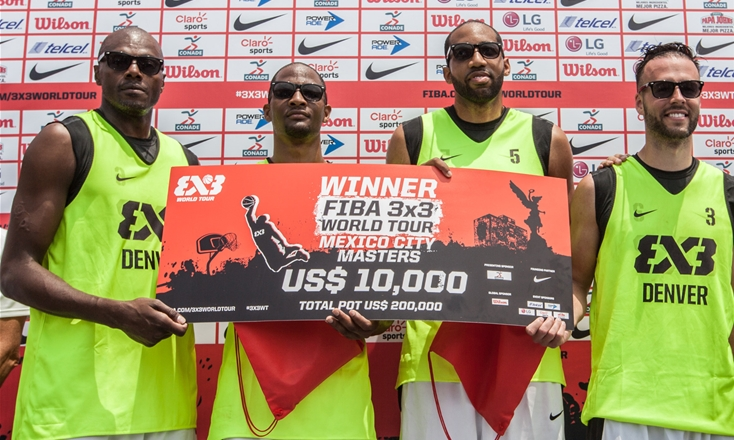 <p>Team Denver won the 2015 FIBA 3x3 World Tour Mexico in overtime against NY Harlem. Team Denver, led by Derek Griffin (far right),plays in theWorld Tour Final in Abu Dhabi on Oct.15-16.</p>
