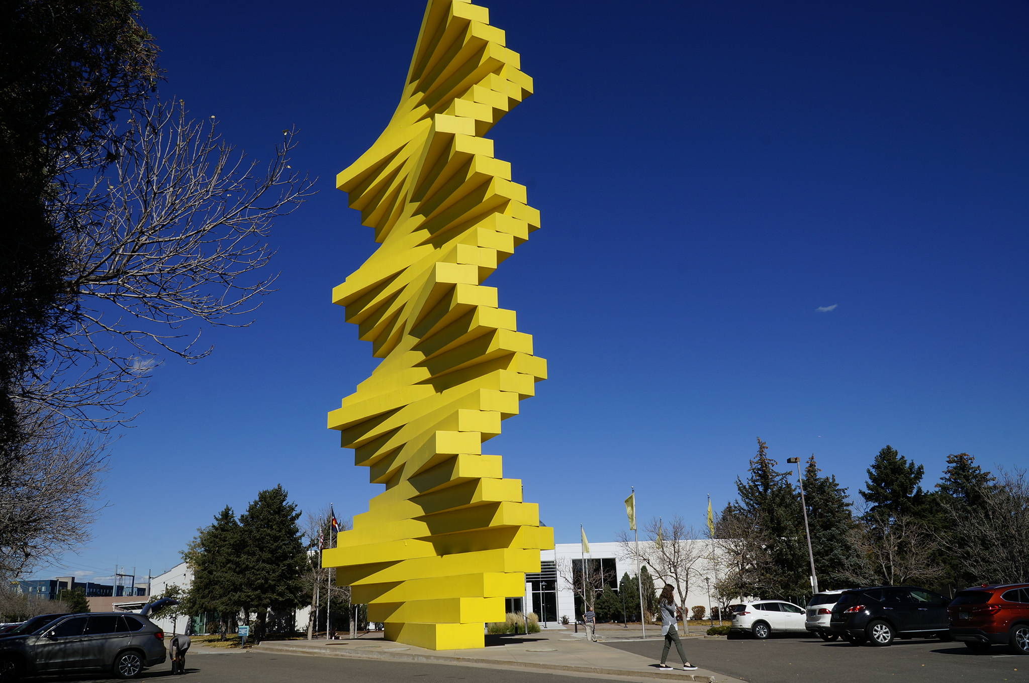 """<p>Herbert Bayer's 85-foot """"Articulated Wall"""" in Denver on a sunny and warm Oct. 18, 2018.</p>"""