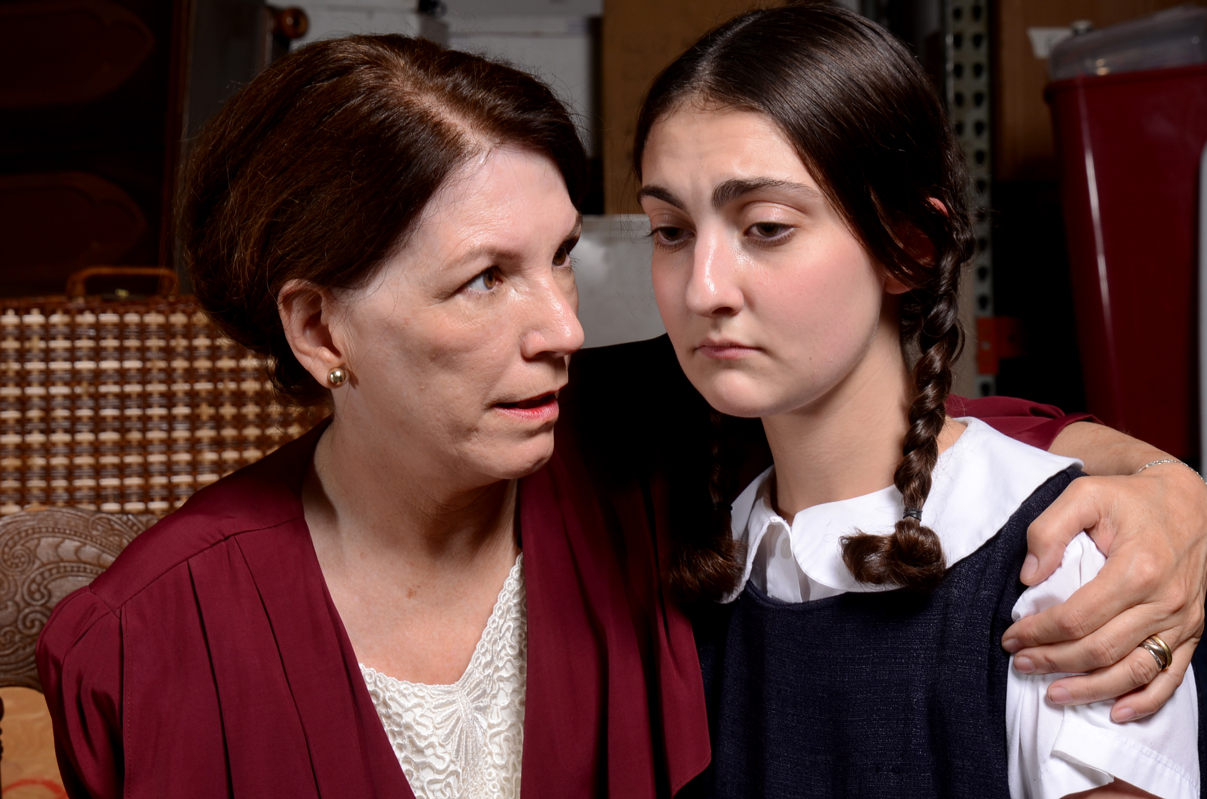 """<p>Margaret Amateis Casart(left) as Lil and Zoe Miller asEva Schlesinger in """"Kindertransport,"""" which runs at the Mizel Arts and Culture Center in Denver through Dec. 7.</p>"""