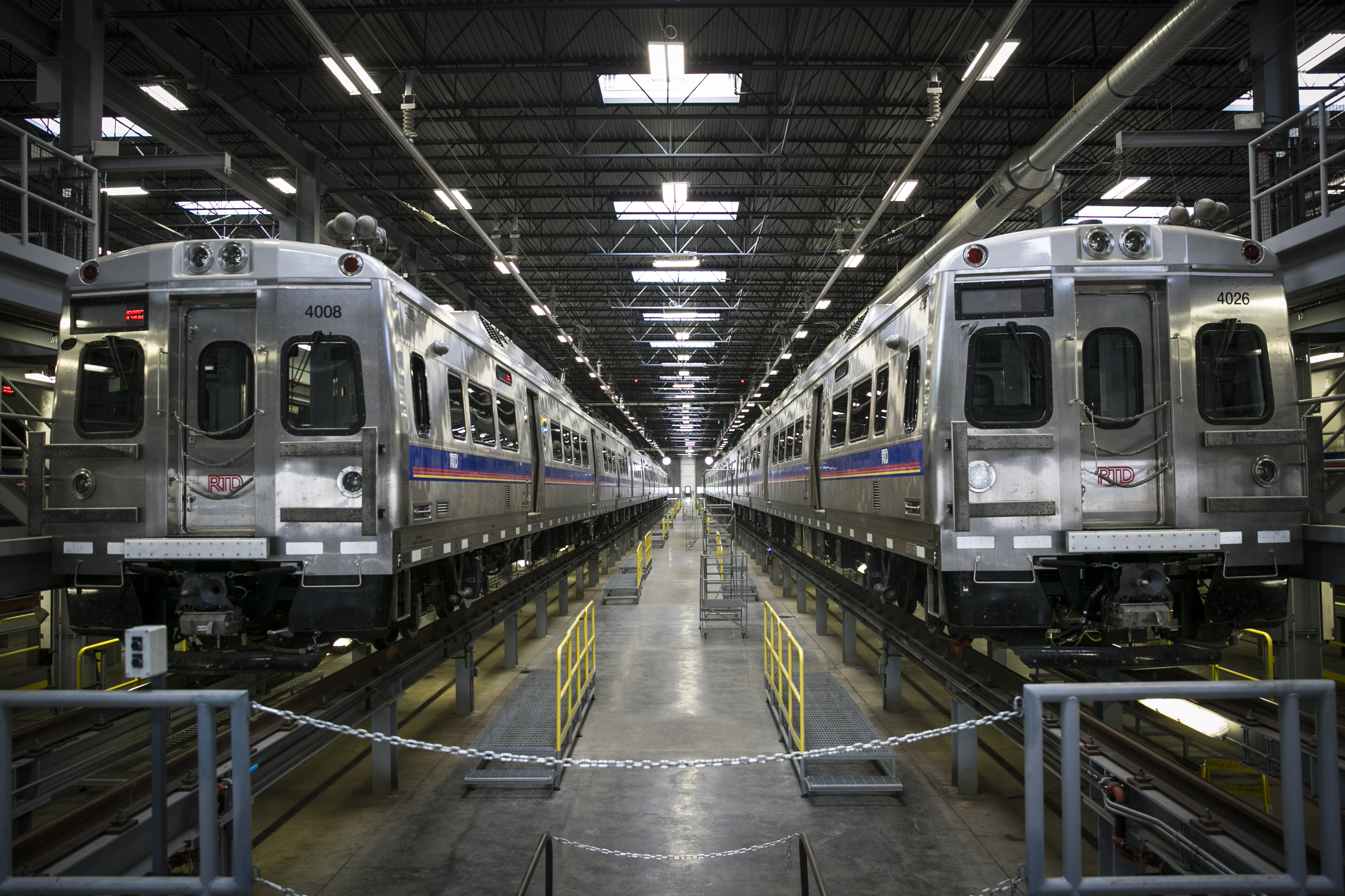 <p>Train cars inside the Denver Transit Partners maintenance facility in Denver, Colorado on Friday, June 29, 2018.</p>