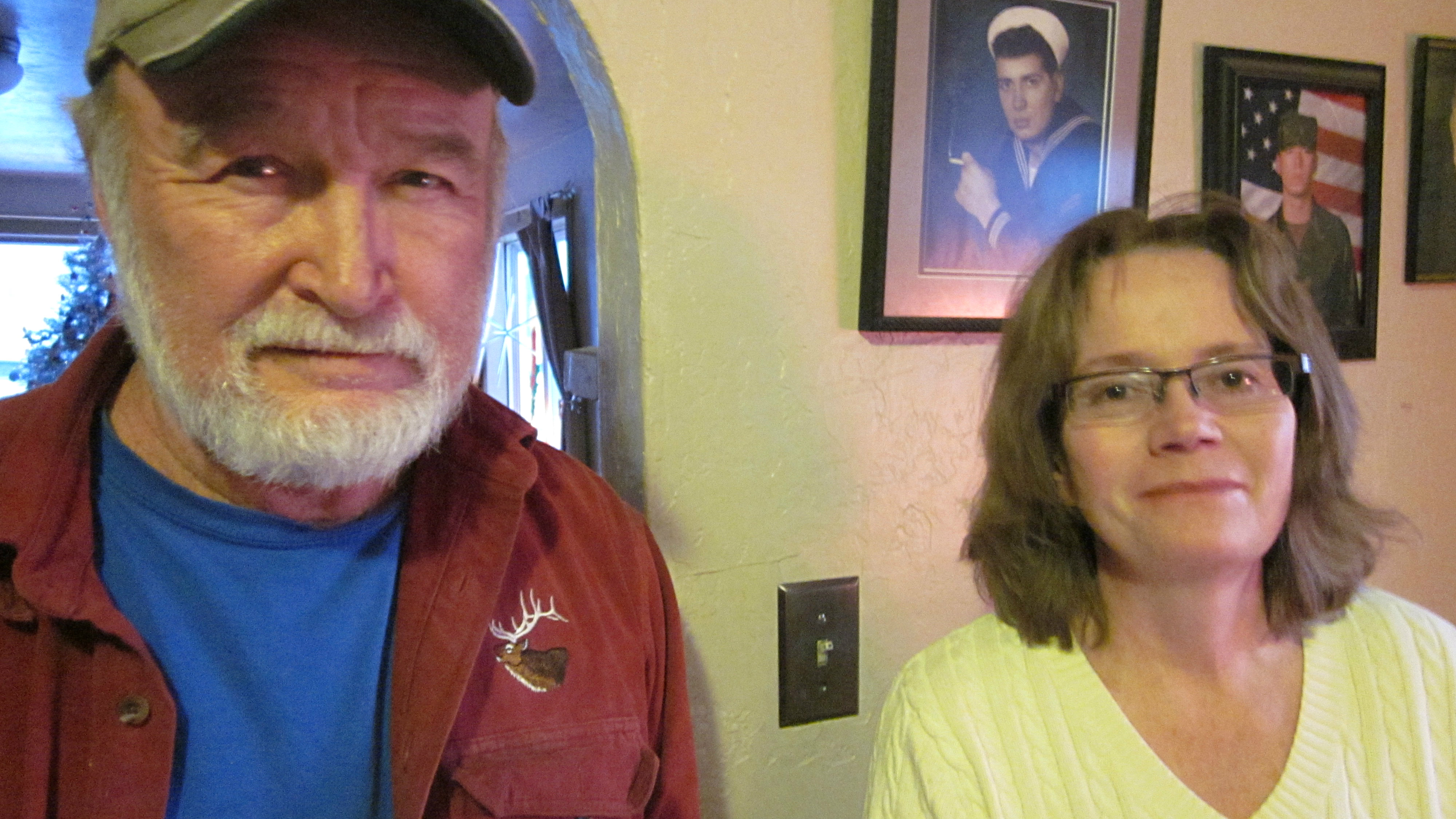 <p>Jim Long, left, and Gale Roberts are longtime Paonia residents and coal mine employees. Roberts lost her job as a dispatcher after the mine explosion.</p>