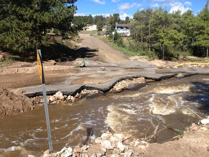 <p>A road on the east side of Estes Park following the floods of September 2013.</p>