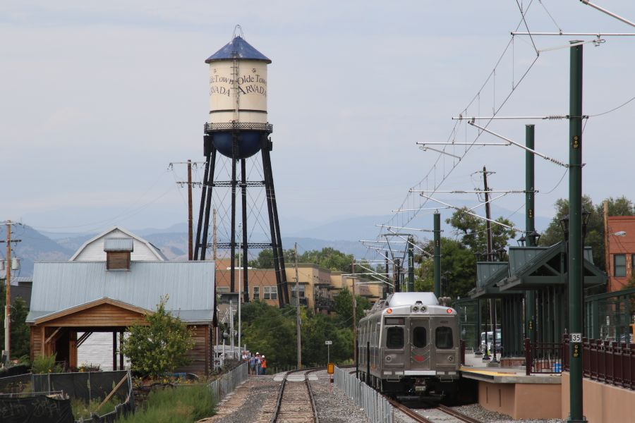 <p>One of RTD's electric commuter trains sits at the Olde Town Arvada Station along the as-of-yet unopened G Line. Crossing gate issues on the A and B Lines have kept testing from proceeding on the G Line.</p>
